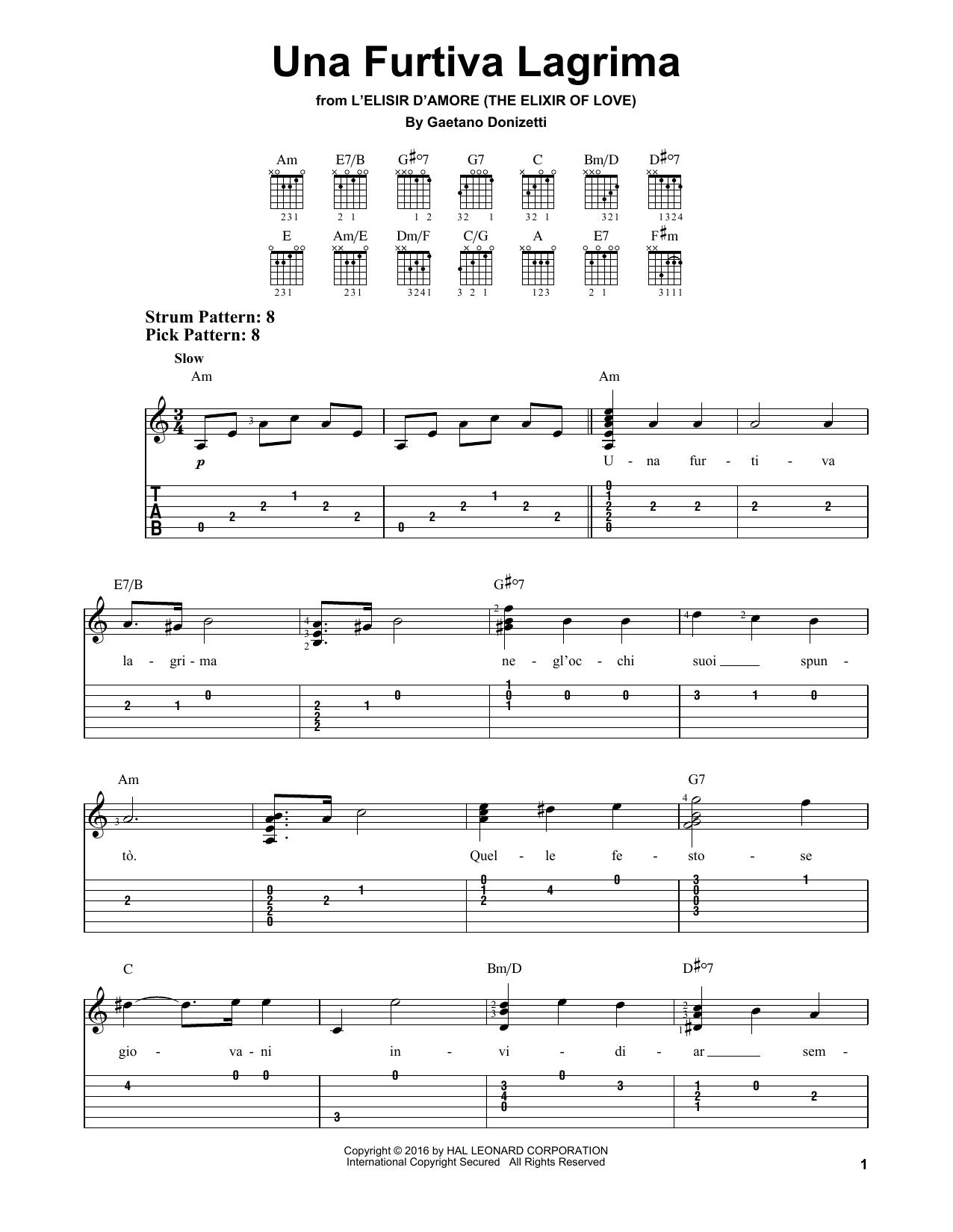 Tablature guitare Una Furtiva Lagrima de Gaetano Donizetti - Tablature guitare facile
