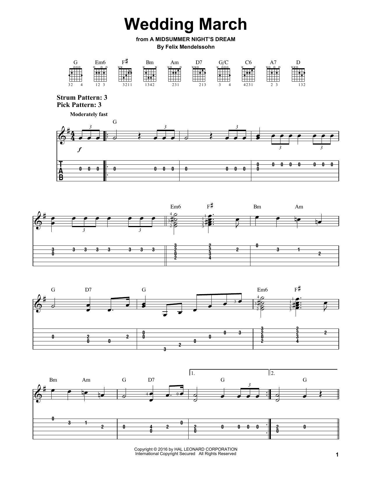 Tablature guitare Wedding March de Felix Mendelssohn - Tablature guitare facile