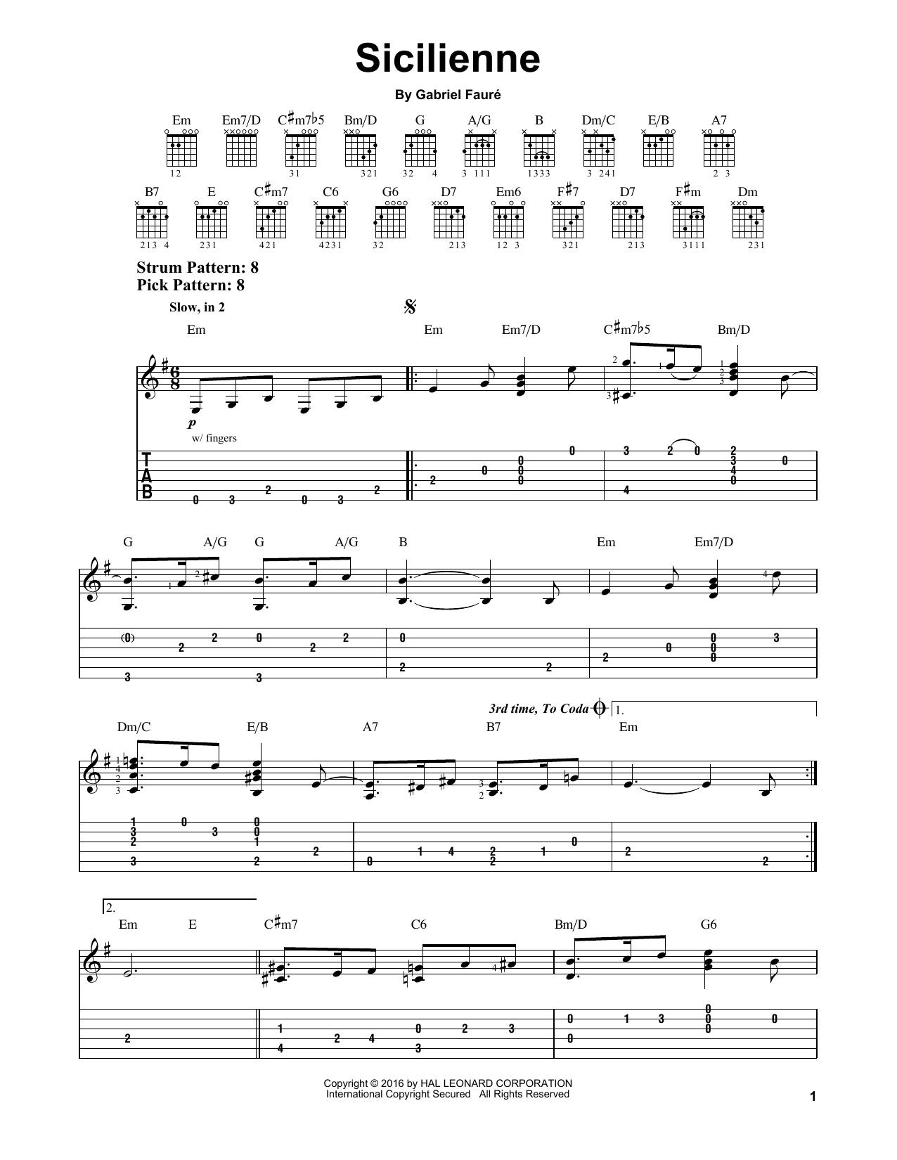 Tablature guitare Sicilienne de Gabriel Faure - Tablature guitare facile