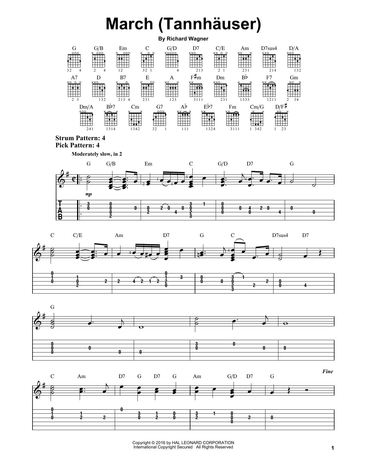 Tablature guitare March (Tannhauser) de Richard Wagner - Tablature guitare facile