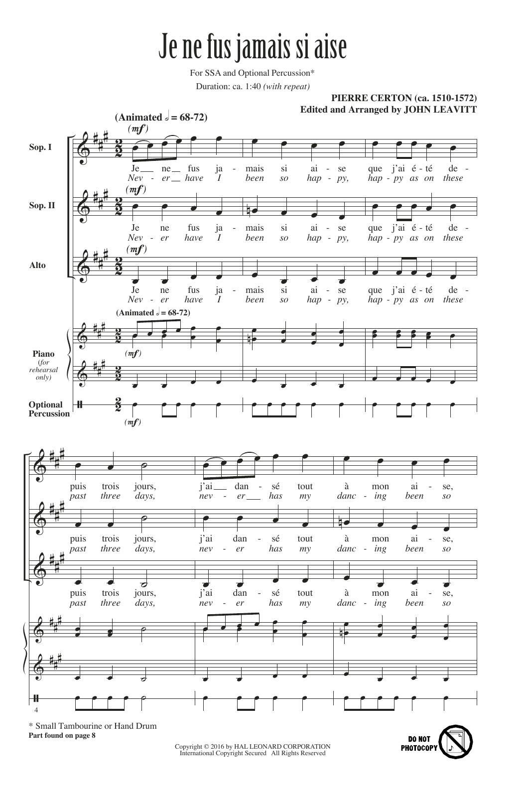 Partition chorale Je Ne Fus Jamais Si Aise de Pierre Certon - SSA