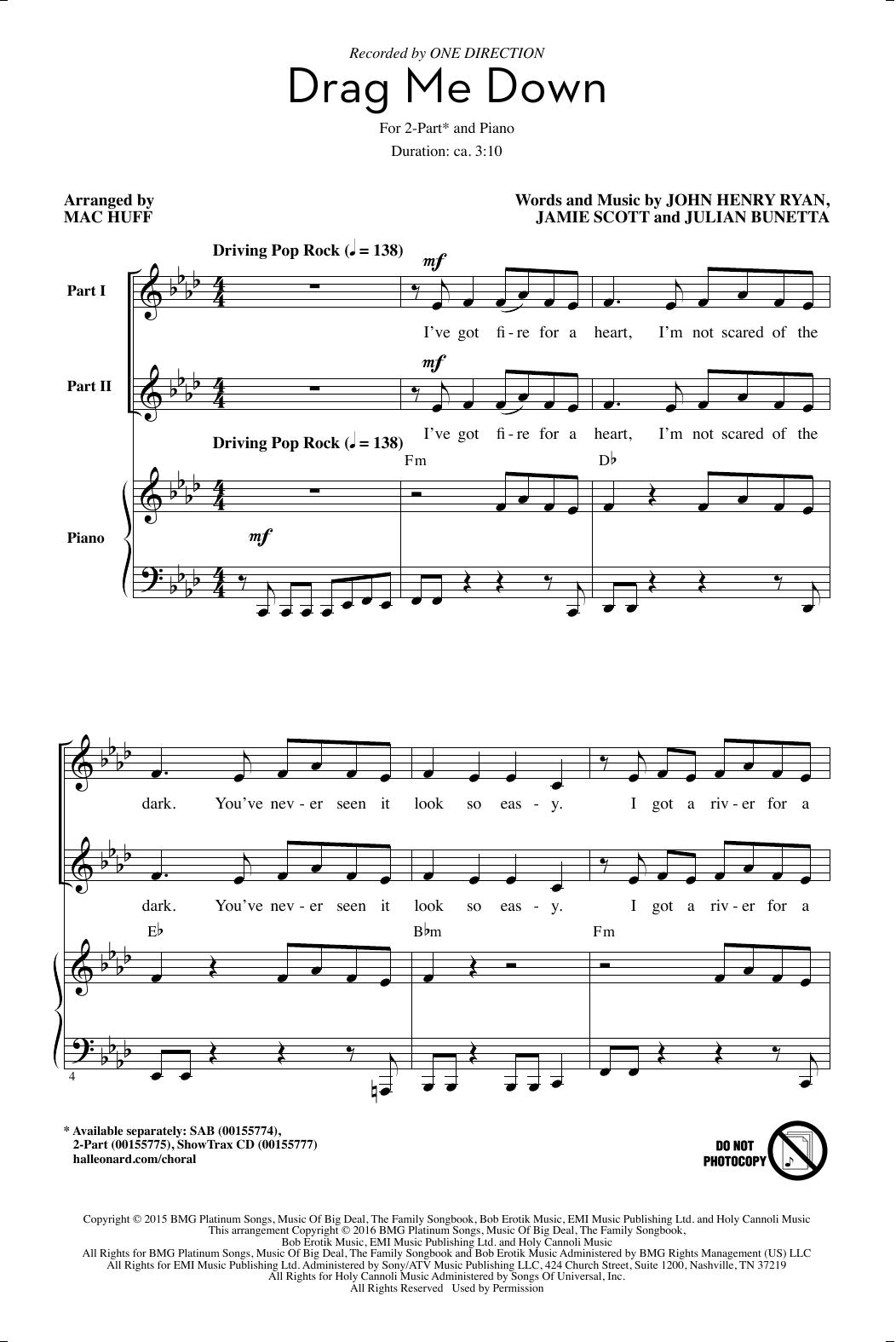Partition chorale Drag Me Down de Jamie Scott - 2 voix
