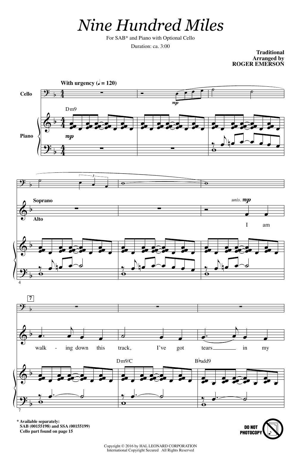 Partition chorale Nine Hundred Miles de Roger Emerson - SAB