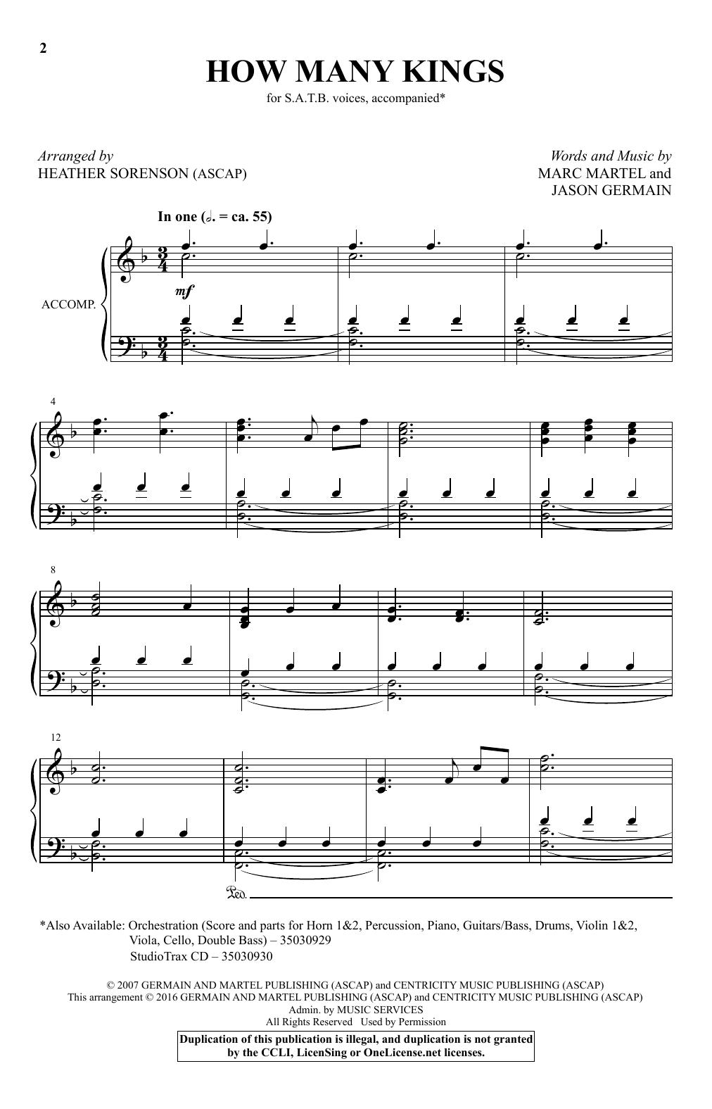 Partition chorale How Many Kings (arr. Heather Sorenson) de Downhere - SATB