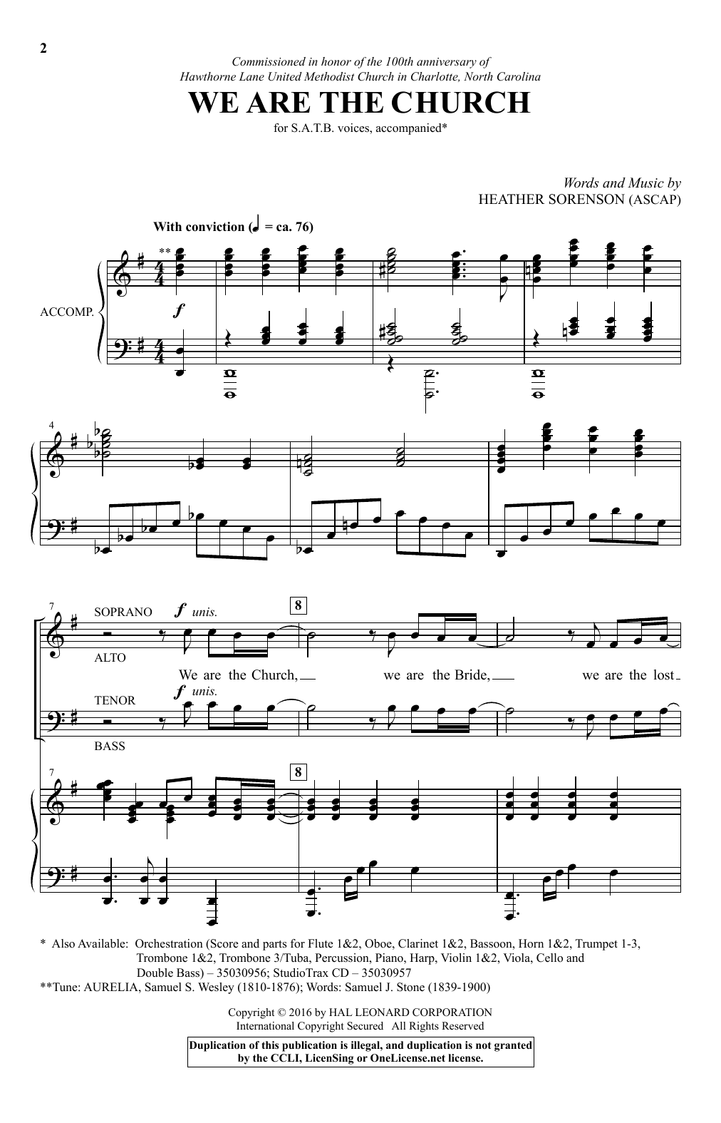 Partition chorale We Are The Church de Heather Sorenson - SATB