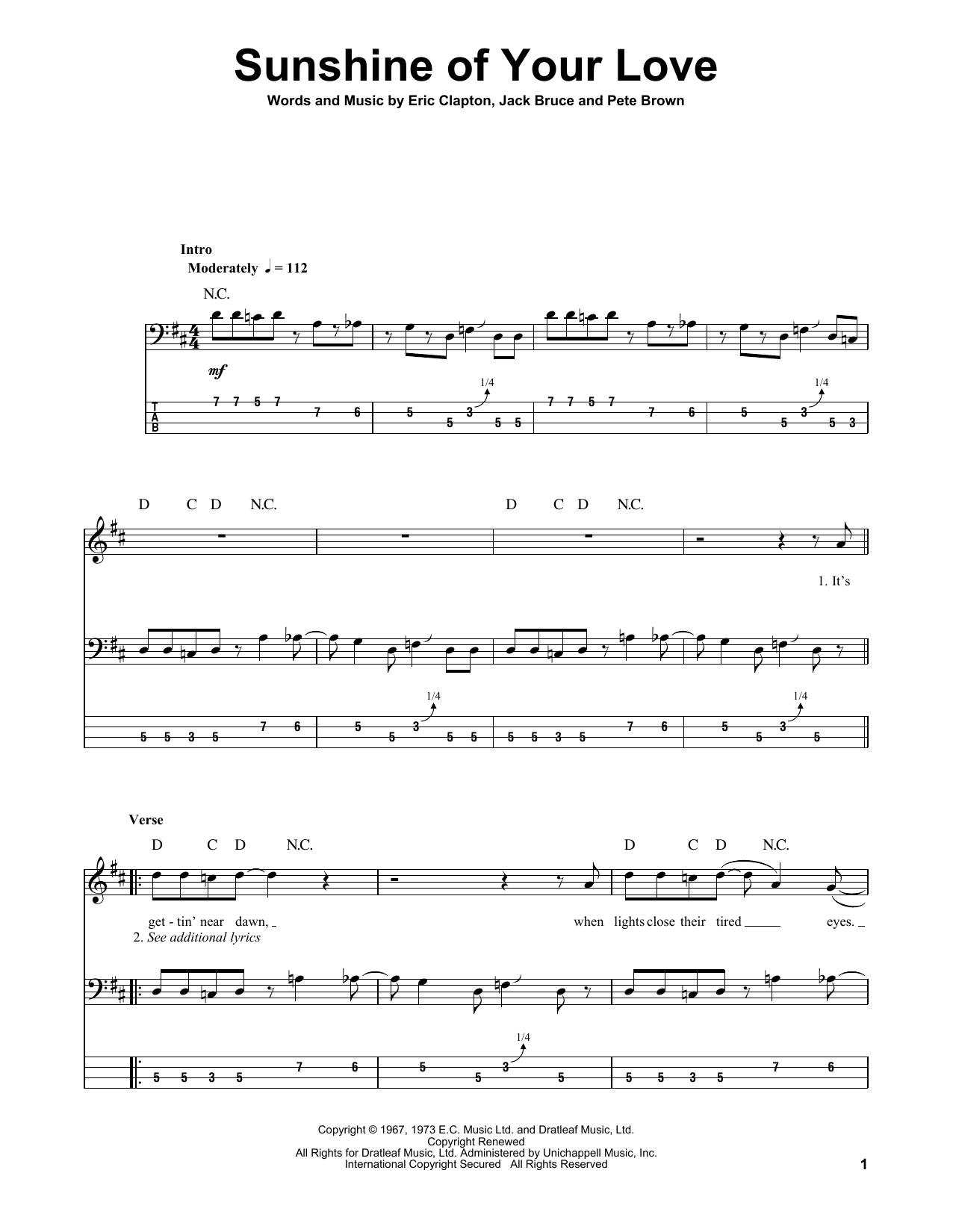 Tablature guitare Sunshine Of Your Love de Cream - Tablature Basse