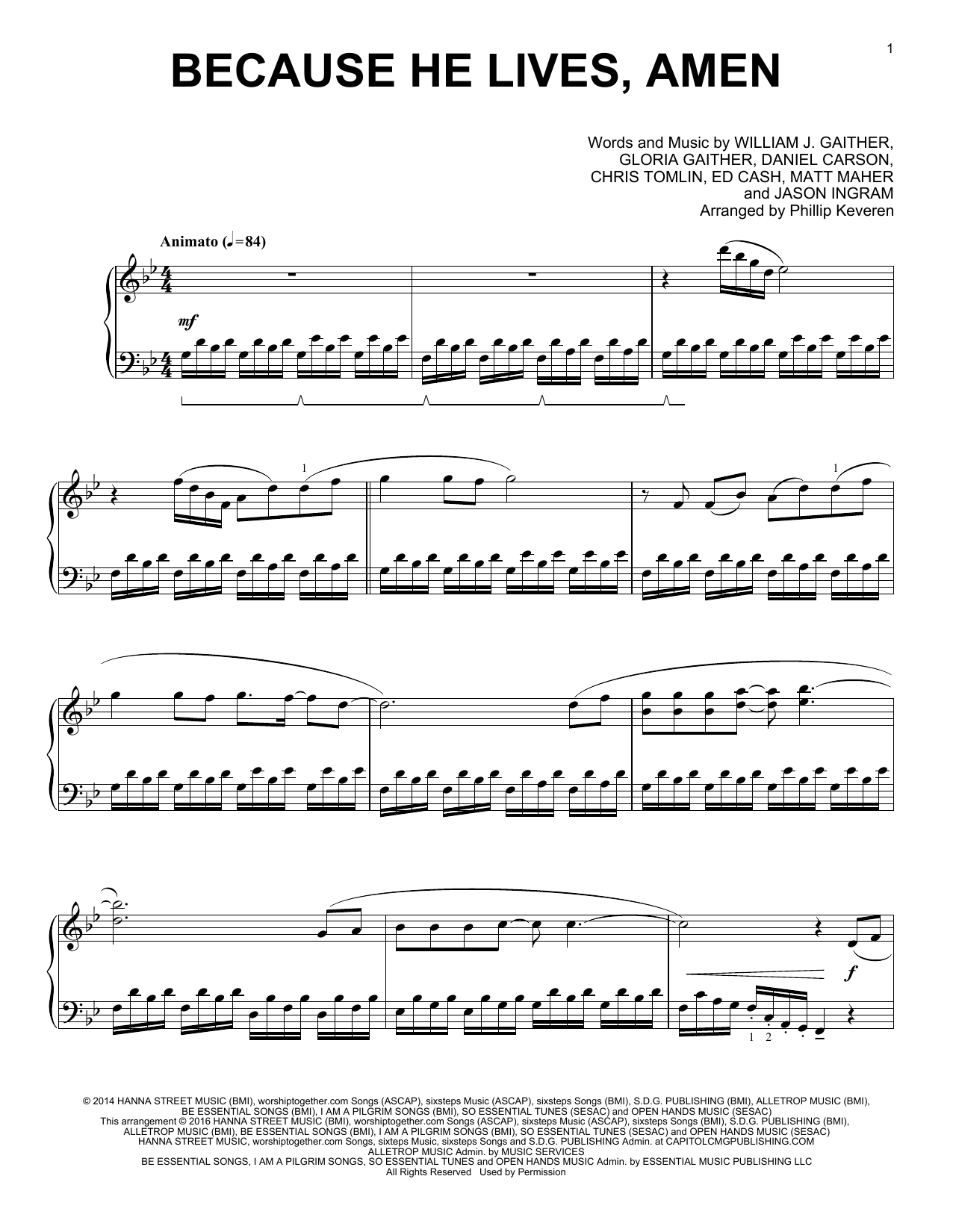 Partition piano Because He Lives, Amen de Phillip Keveren - Piano Solo