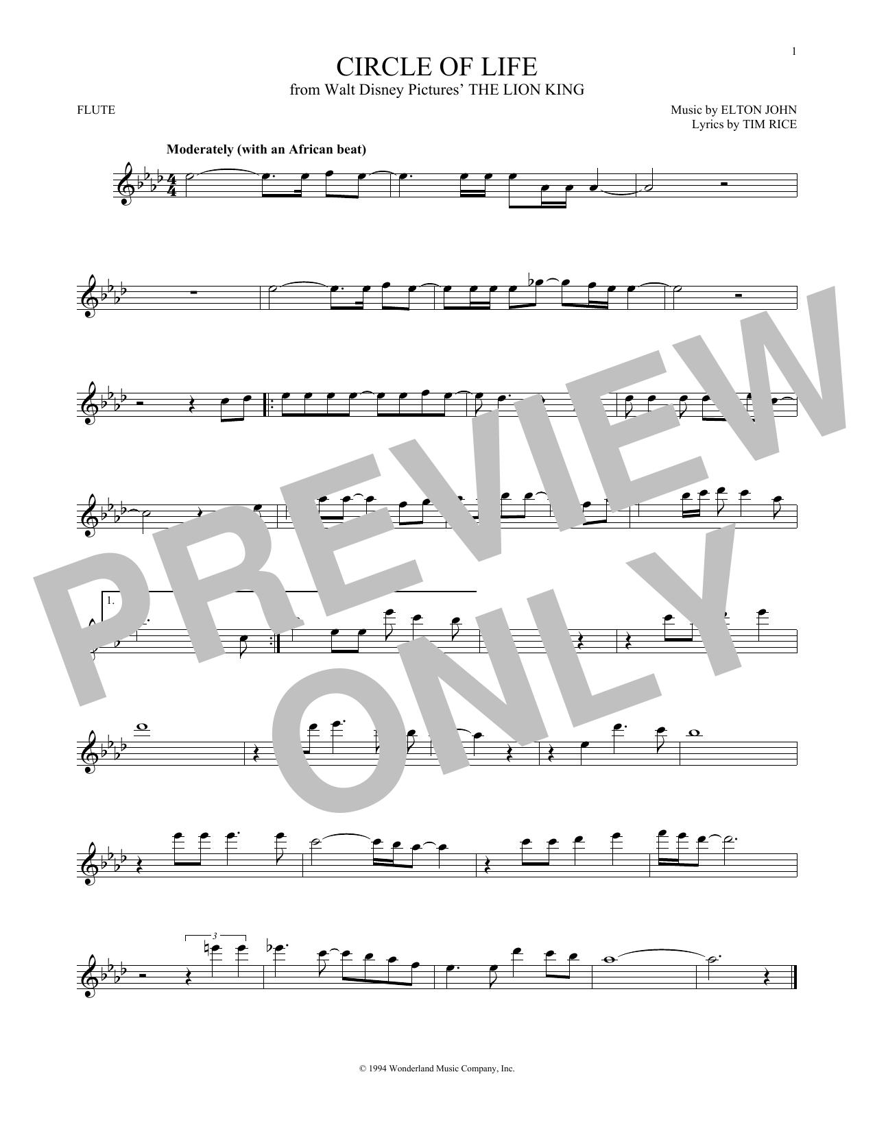 Partition flûte Circle Of Life de Elton John - Flute traversiere