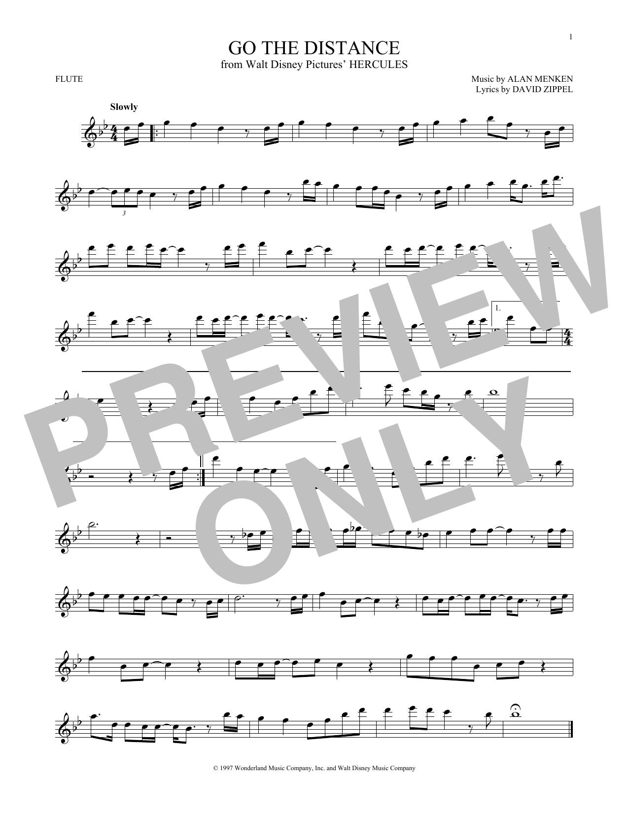Partition flûte Go The Distance de Michael Bolton - Flute traversiere