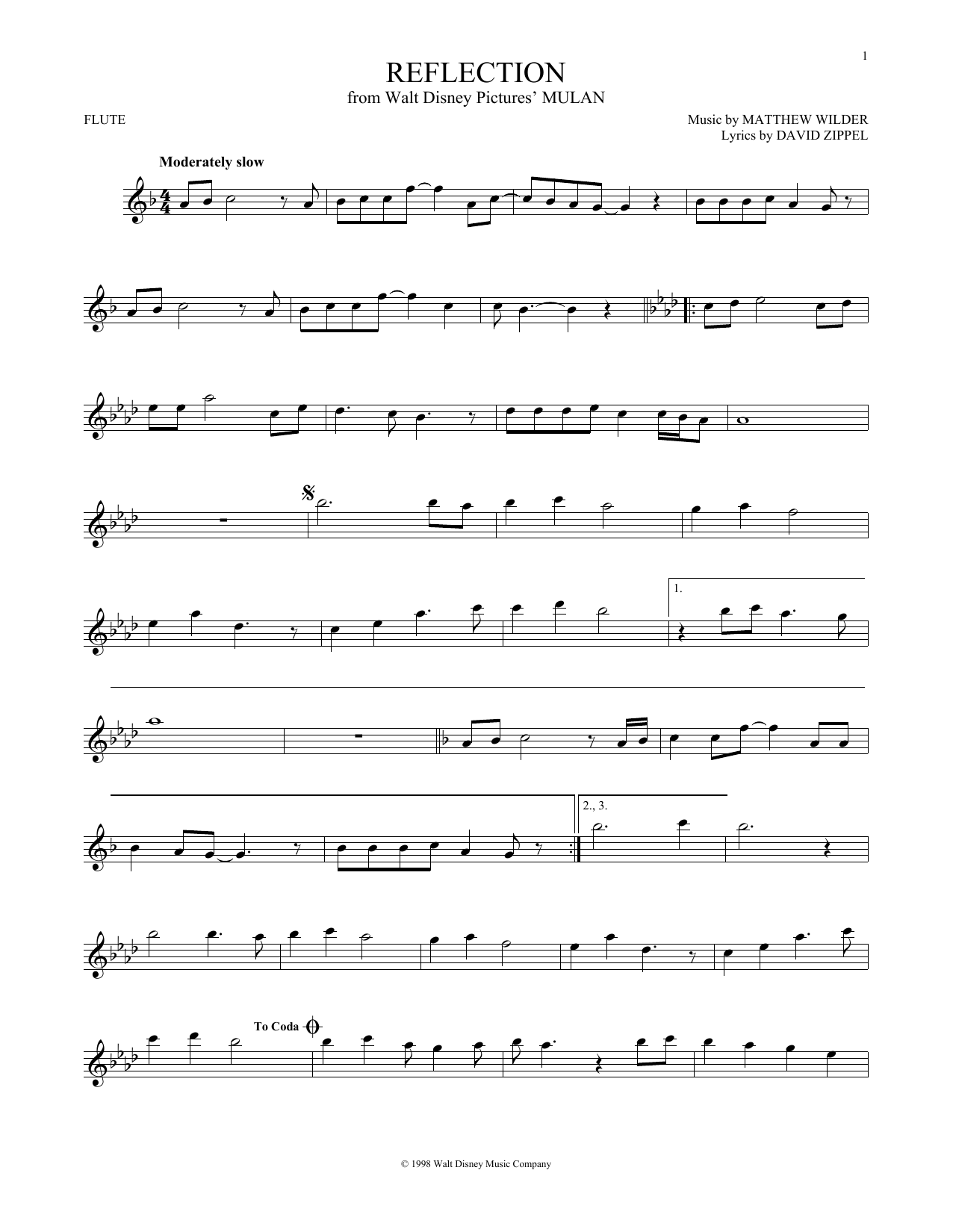 Partition flûte Reflection de Christina Aguilera - Flute traversiere