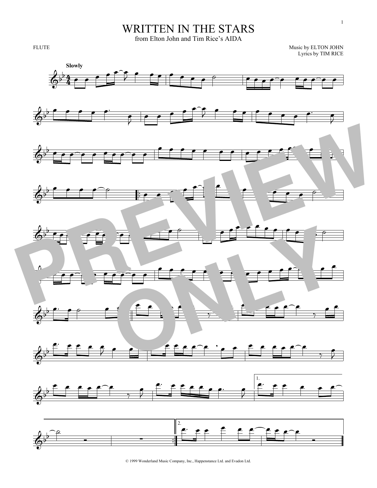 Partition flûte Written In The Stars de Elton John & LeAnn Rimes - Flute traversiere