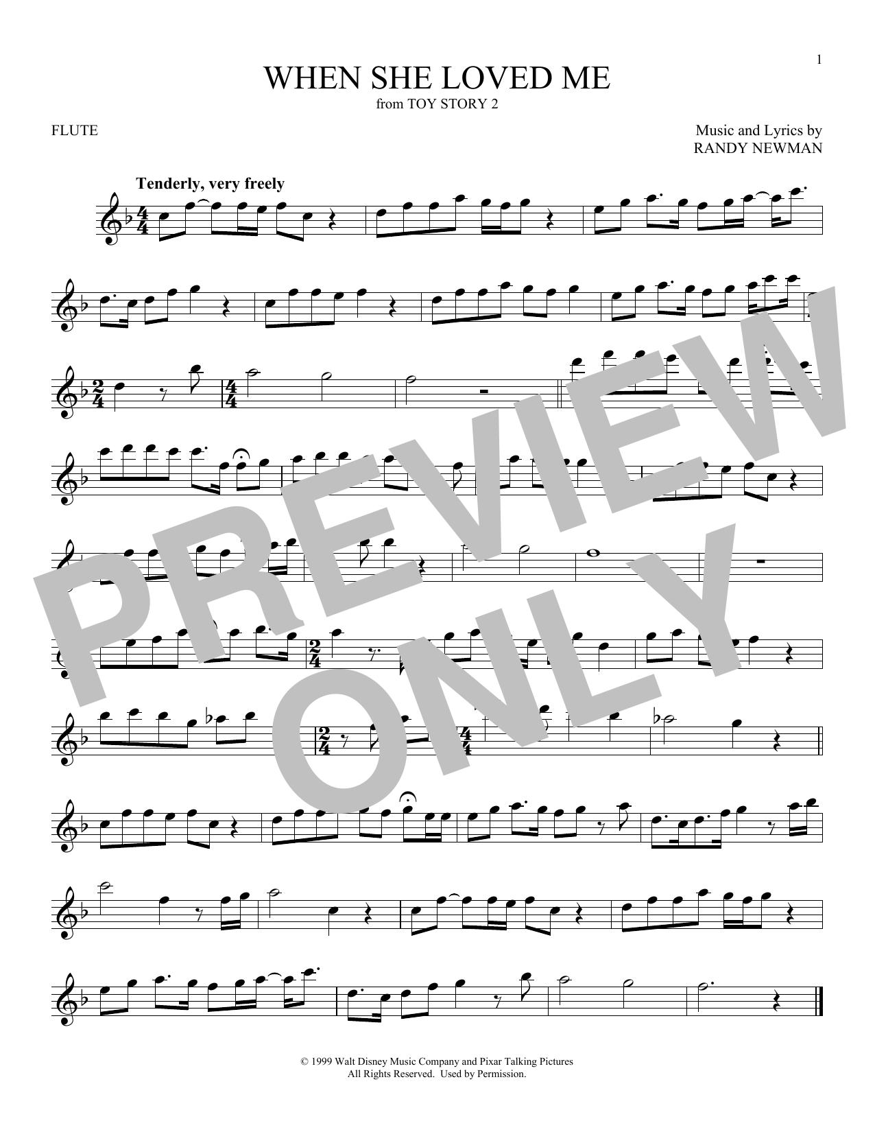 Partition flûte When She Loved Me de Sarah McLachlan - Flute traversiere