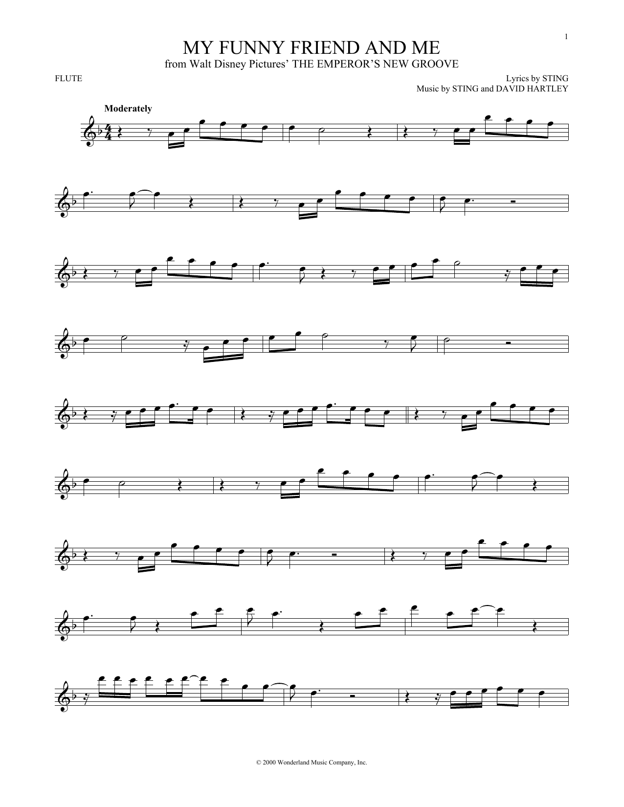Partition flûte My Funny Friend And Me de Sting - Flute traversiere