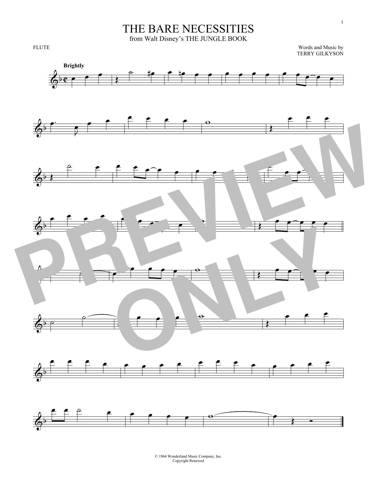 Partition flûte The Bare Necessities de Terry Gilkyson - Flute traversiere