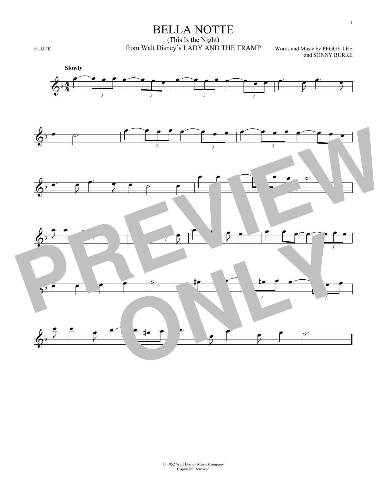 Partition flûte Bella Notte de Peggy Lee & Sonny Burke - Flute traversiere