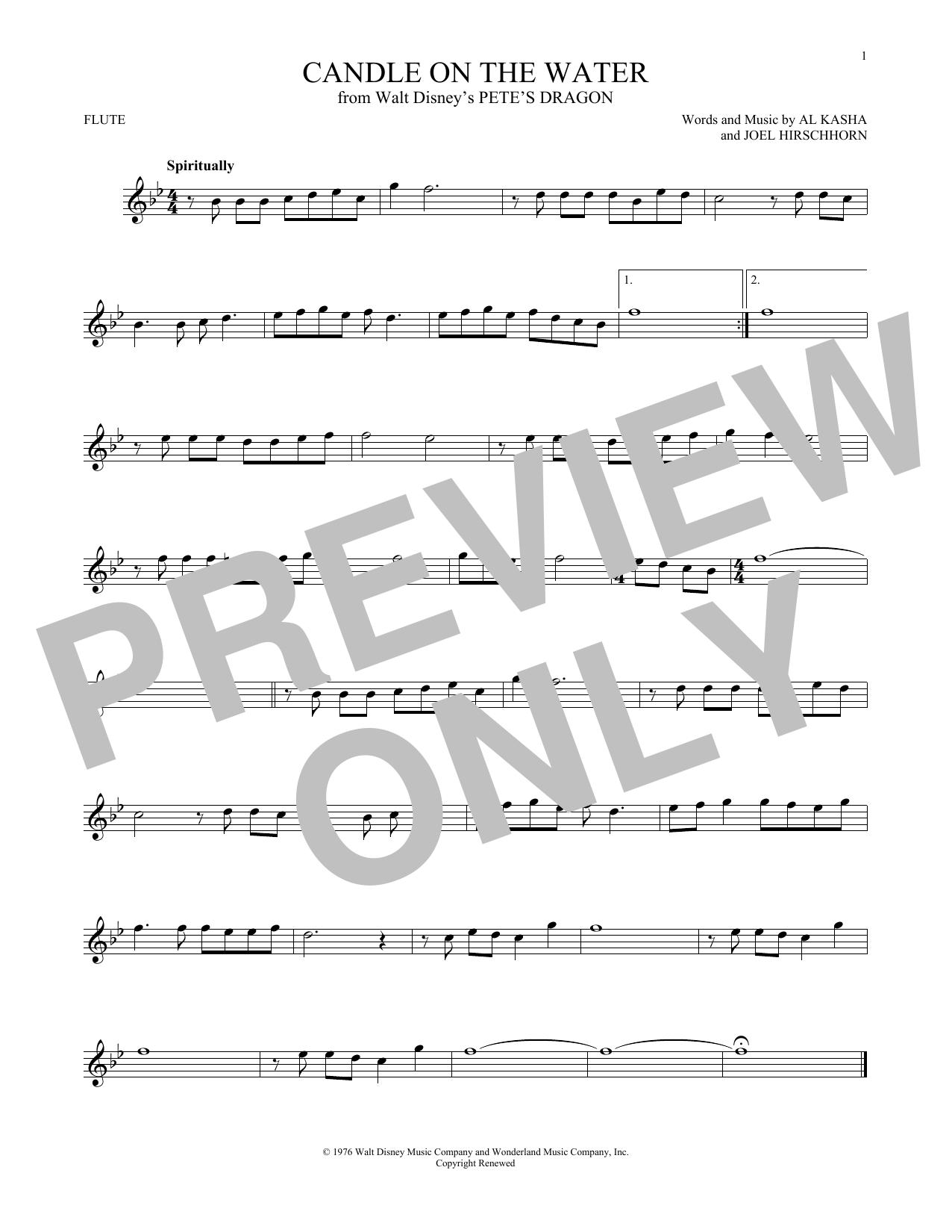 Partition flûte Candle On The Water (from Walt Disney's Pete's Dragon) de Kasha & Hirschhorn - Flute traversiere