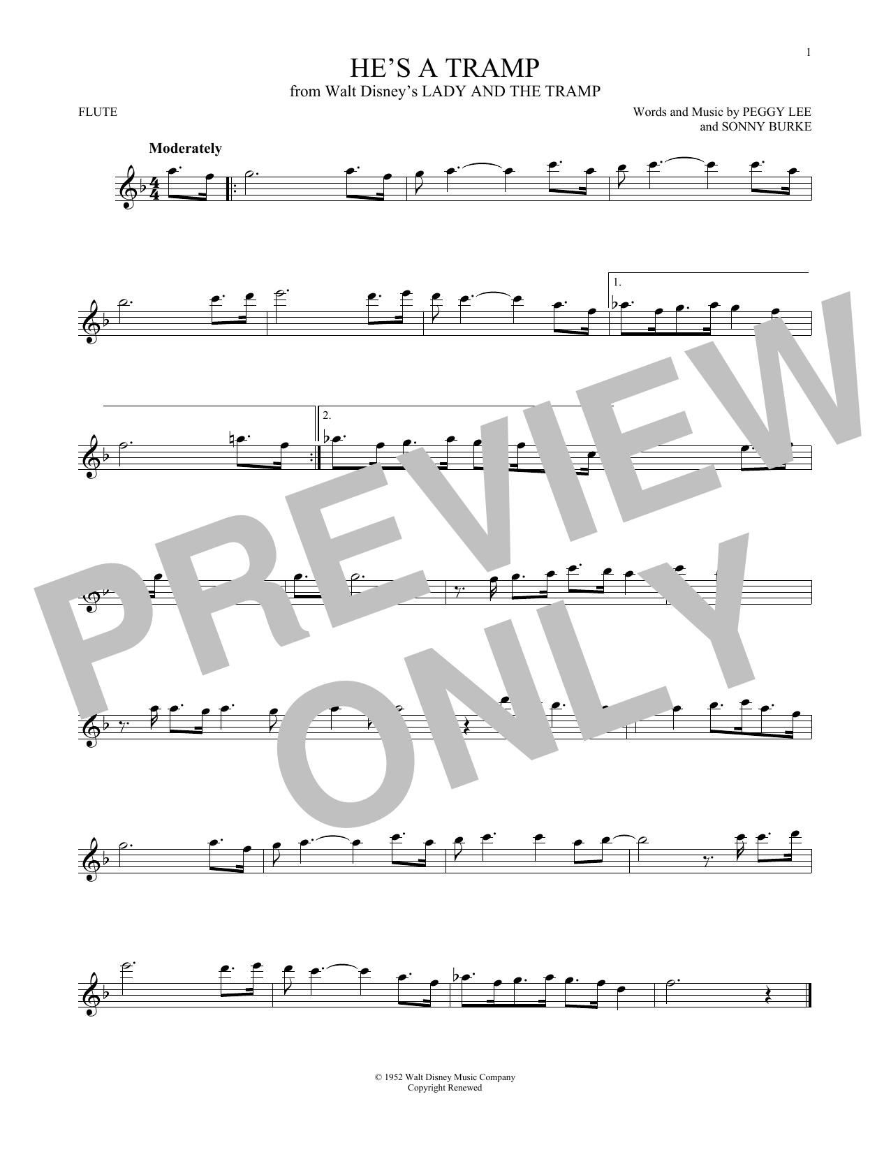 Partition flûte He's A Tramp de Peggy Lee & Sonny Burke - Flute traversiere