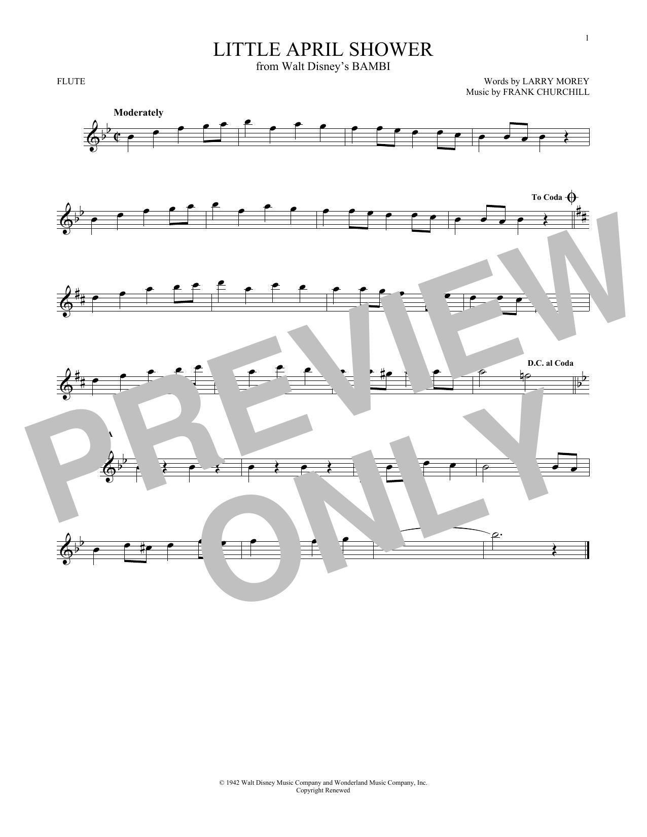 Partition flûte Little April Shower de Frank Churchill - Flute traversiere