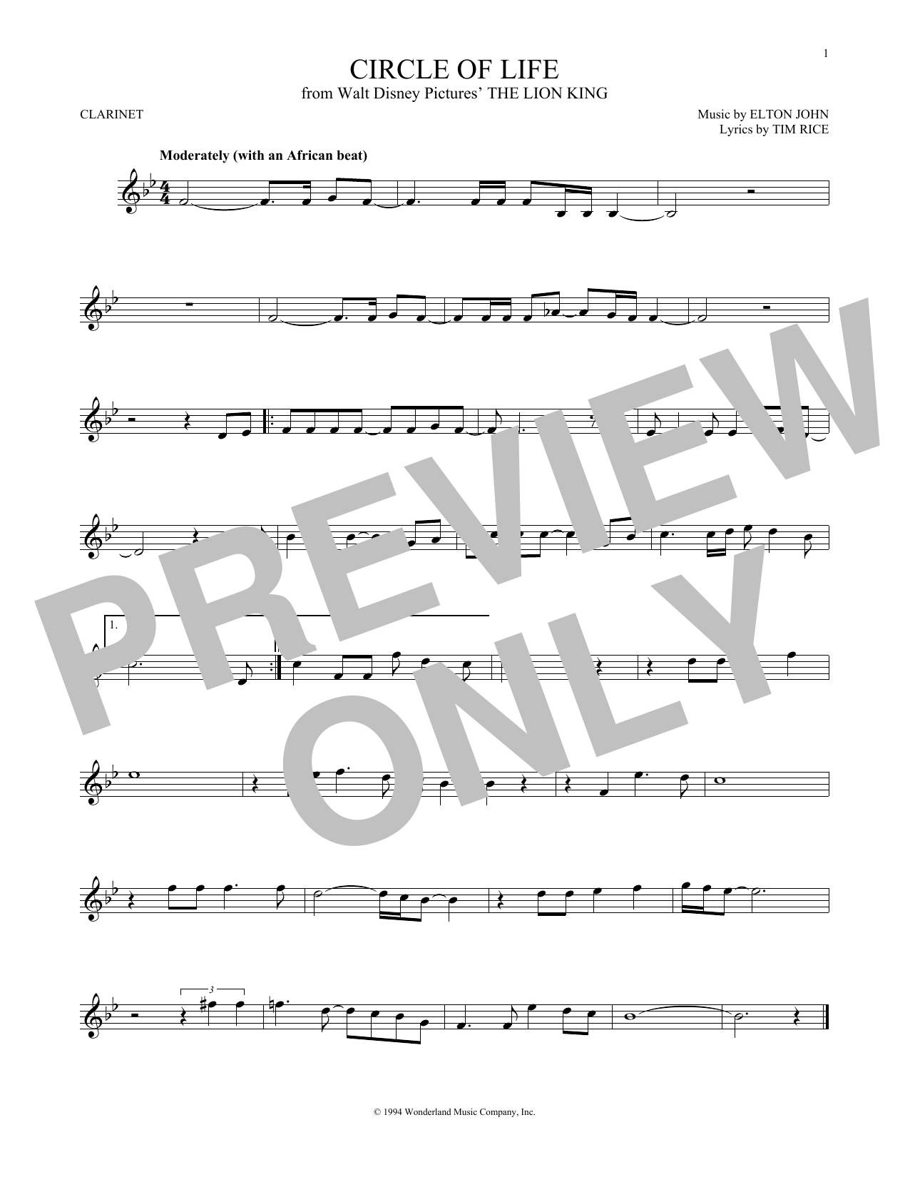 Partition clarinette Circle Of Life de Elton John - Clarinette