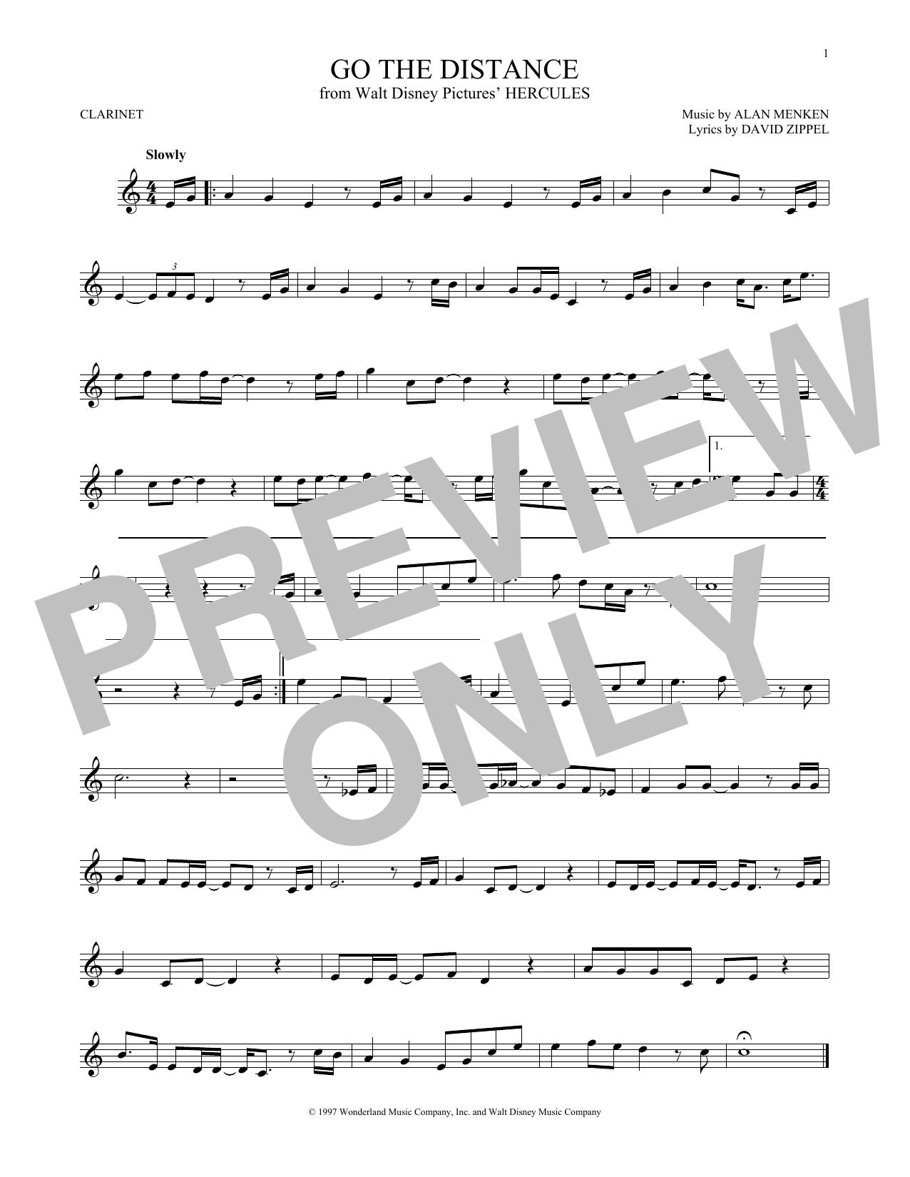 Partition clarinette Go The Distance de Michael Bolton - Clarinette