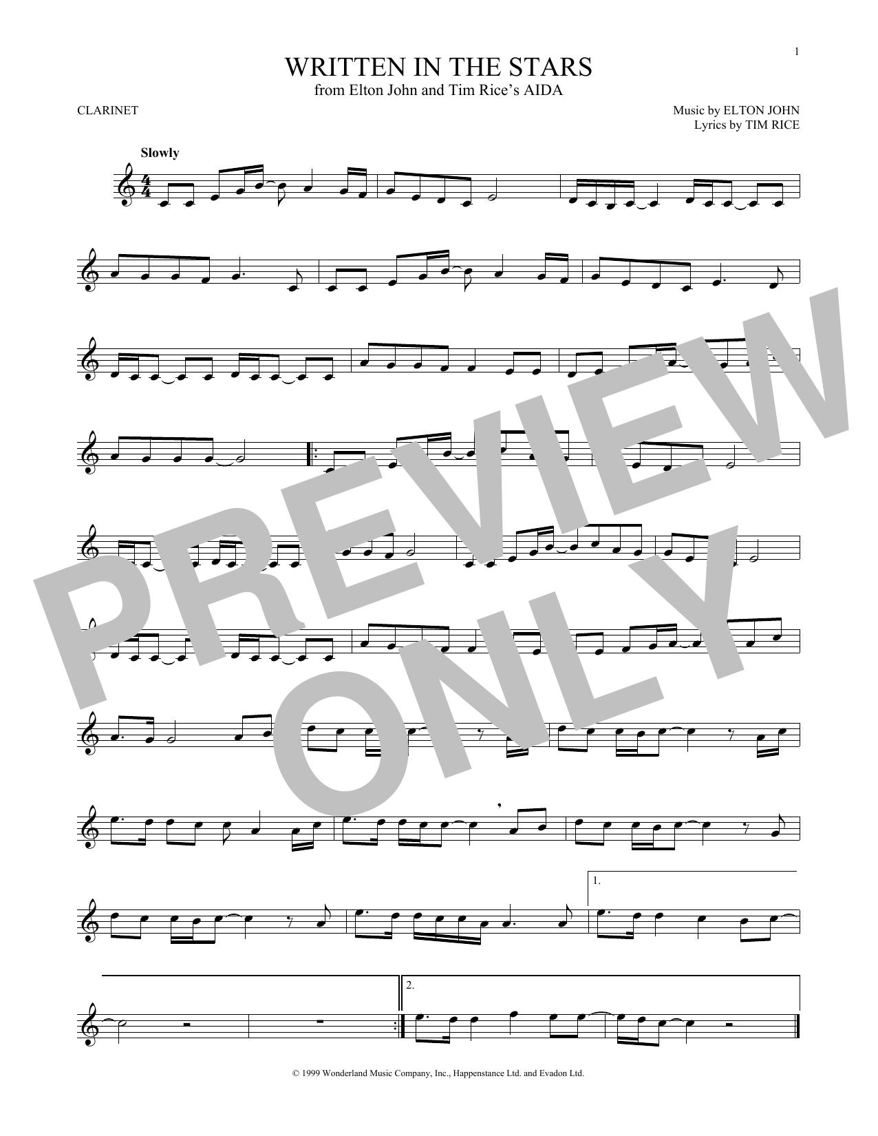Partition clarinette Written In The Stars de Elton John & LeAnn Rimes - Clarinette