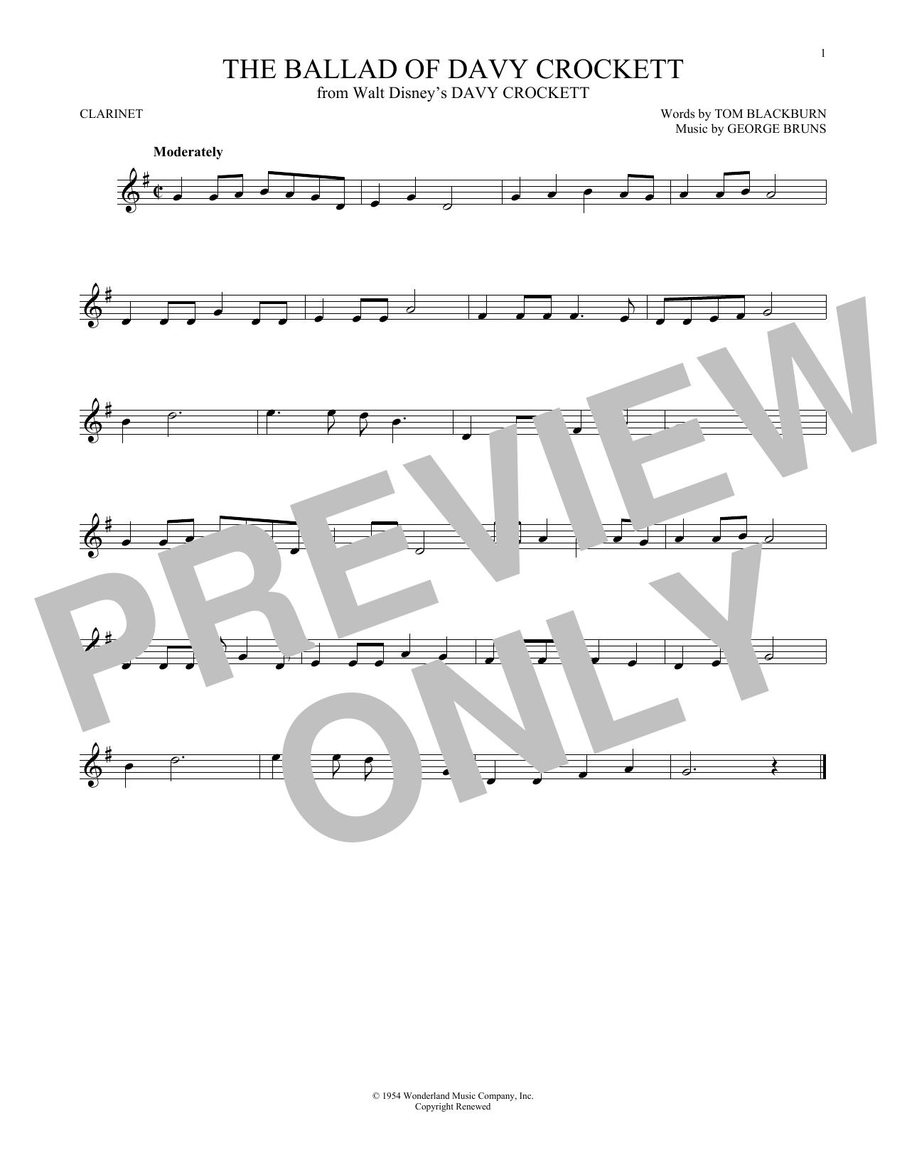 Partition clarinette The Ballad Of Davy Crockett de George Bruns - Clarinette