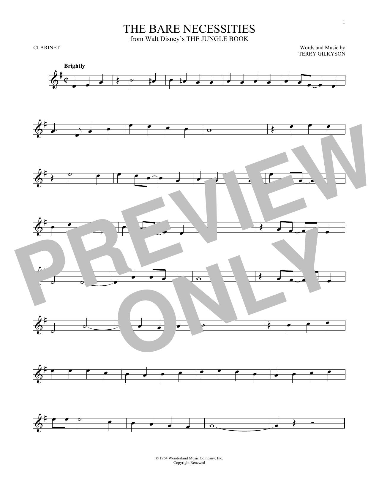 Partition clarinette The Bare Necessities de Terry Gilkyson - Clarinette