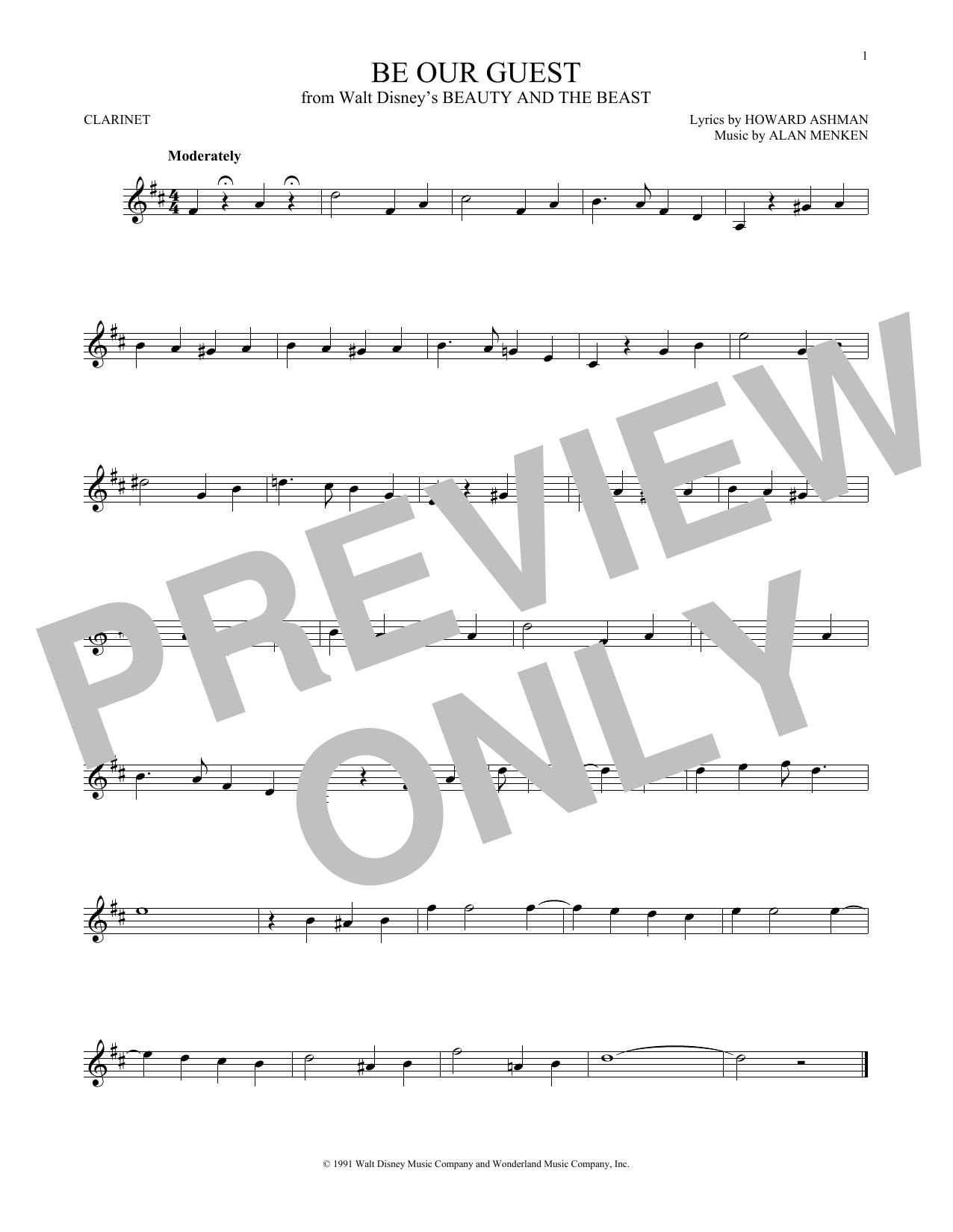 Partition clarinette Be Our Guest de Alan Menken - Clarinette