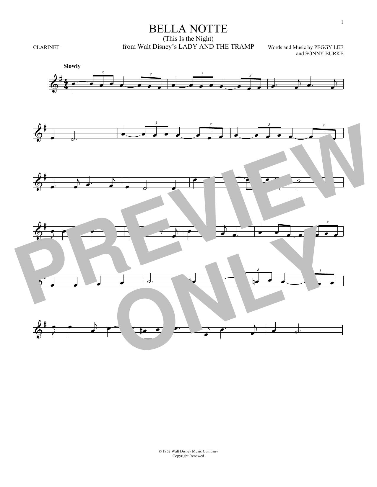 Partition clarinette Bella Notte de Peggy Lee & Sonny Burke - Clarinette