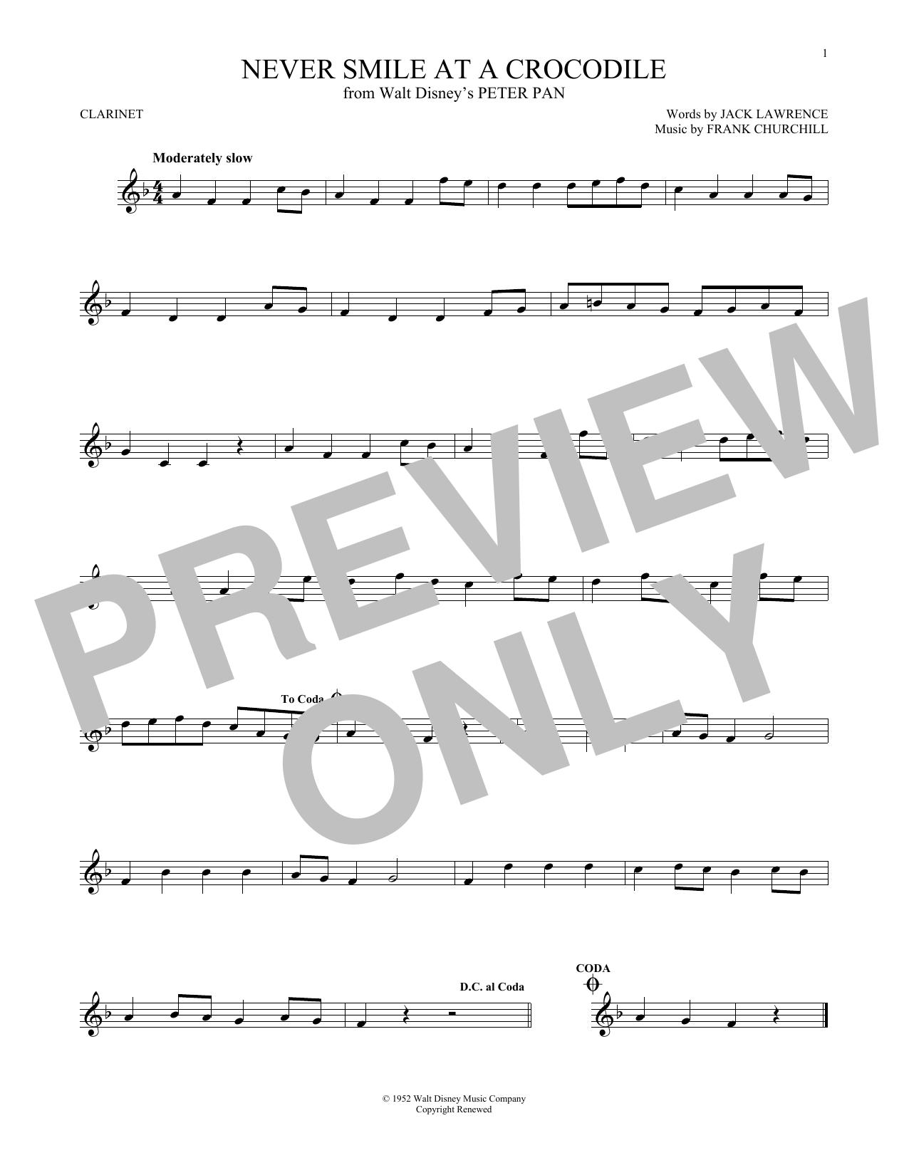 Partition clarinette Never Smile At A Crocodile de Frank Churchill - Clarinette