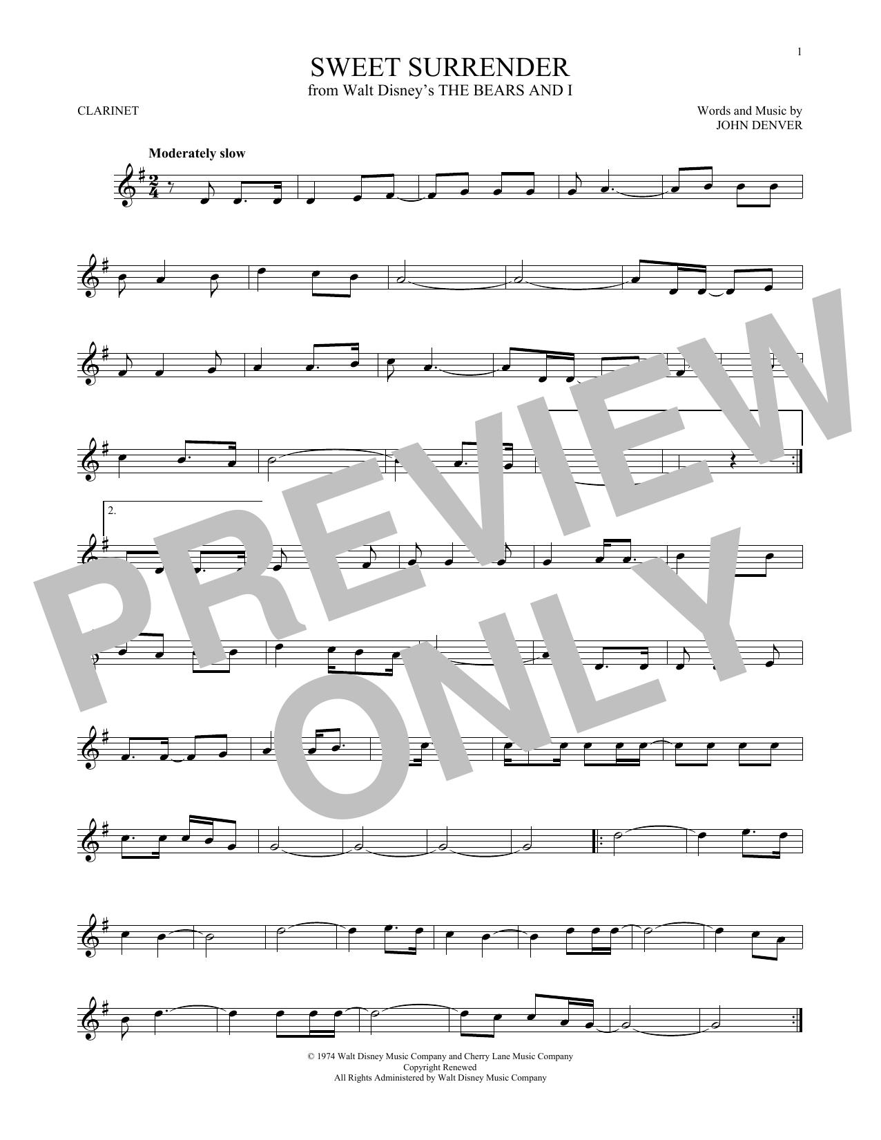 Partition clarinette Sweet Surrender de John Denver - Clarinette