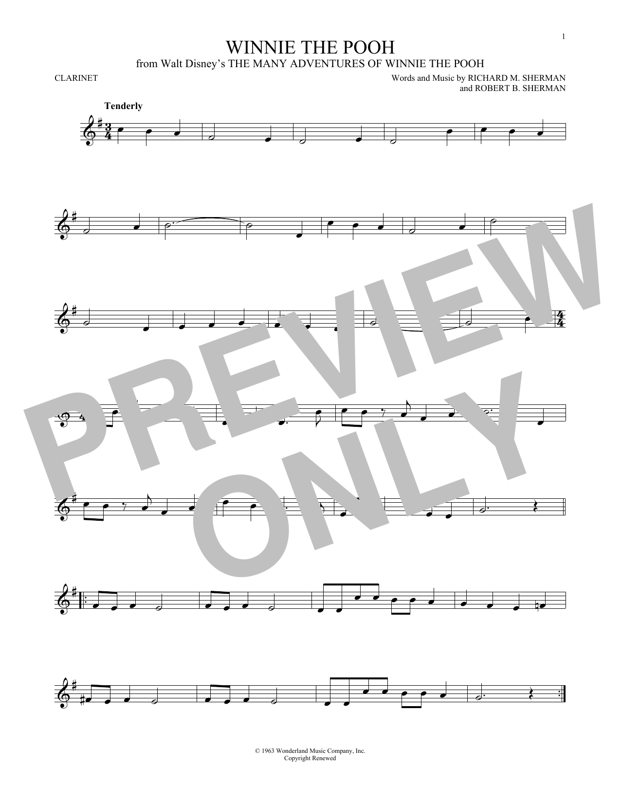 Partition clarinette Winnie The Pooh de Richard M. Sherman - Clarinette