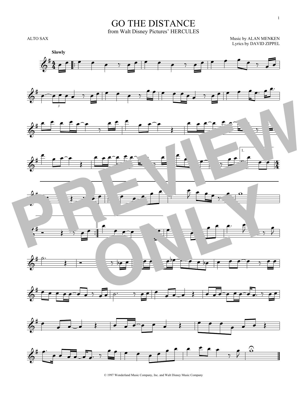 Partition saxophone Go The Distance de Michael Bolton - Sax Alto