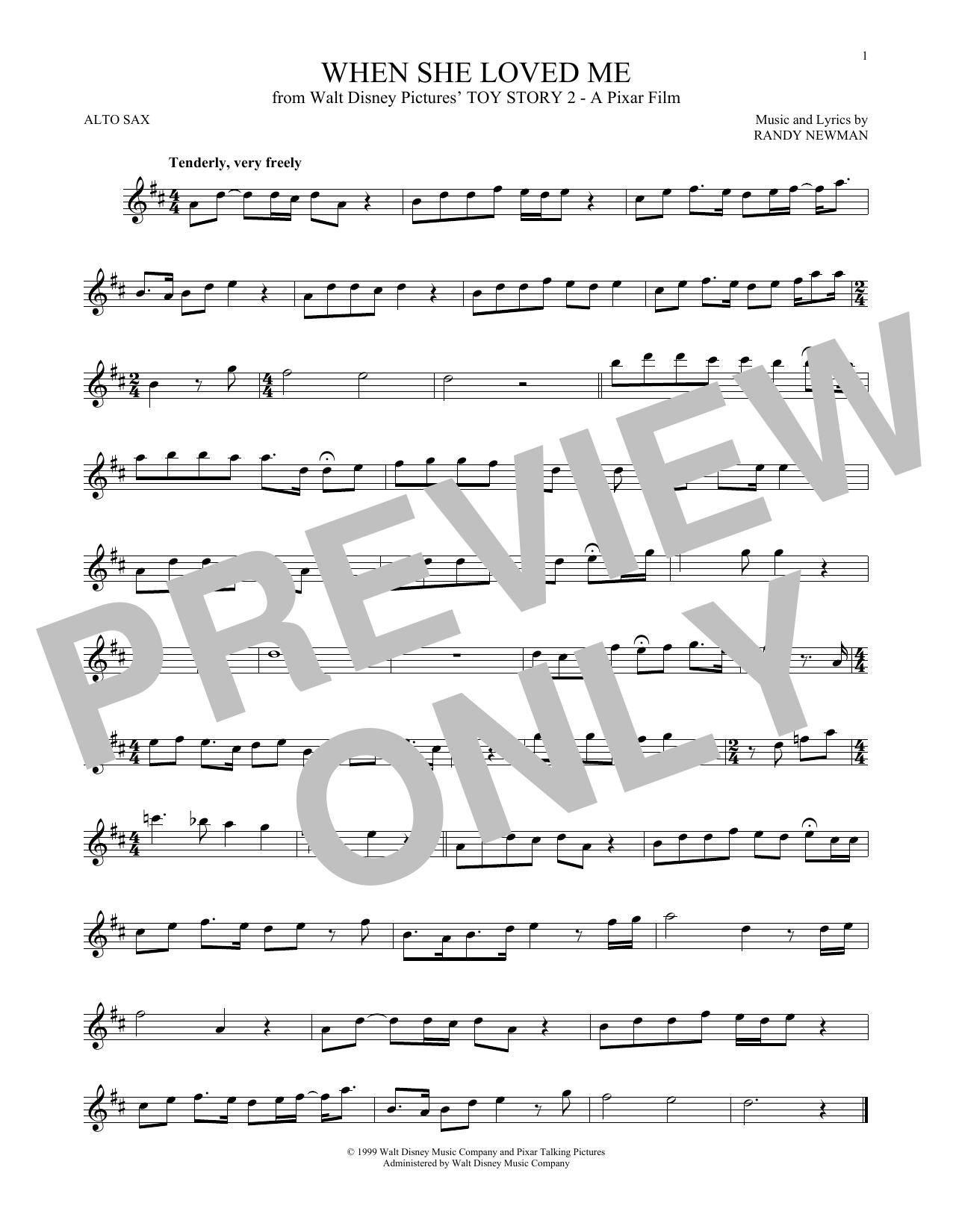 Partition saxophone When She Loved Me de Sarah McLachlan - Sax Alto