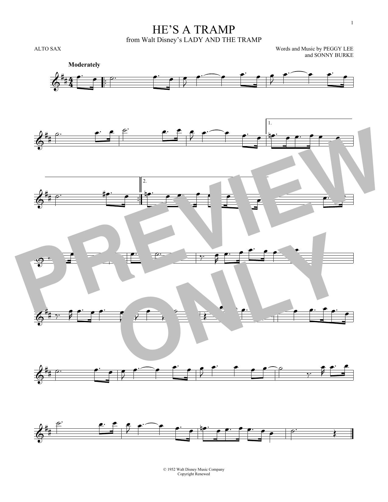 Partition saxophone He's A Tramp de Peggy Lee & Sonny Burke - Sax Alto