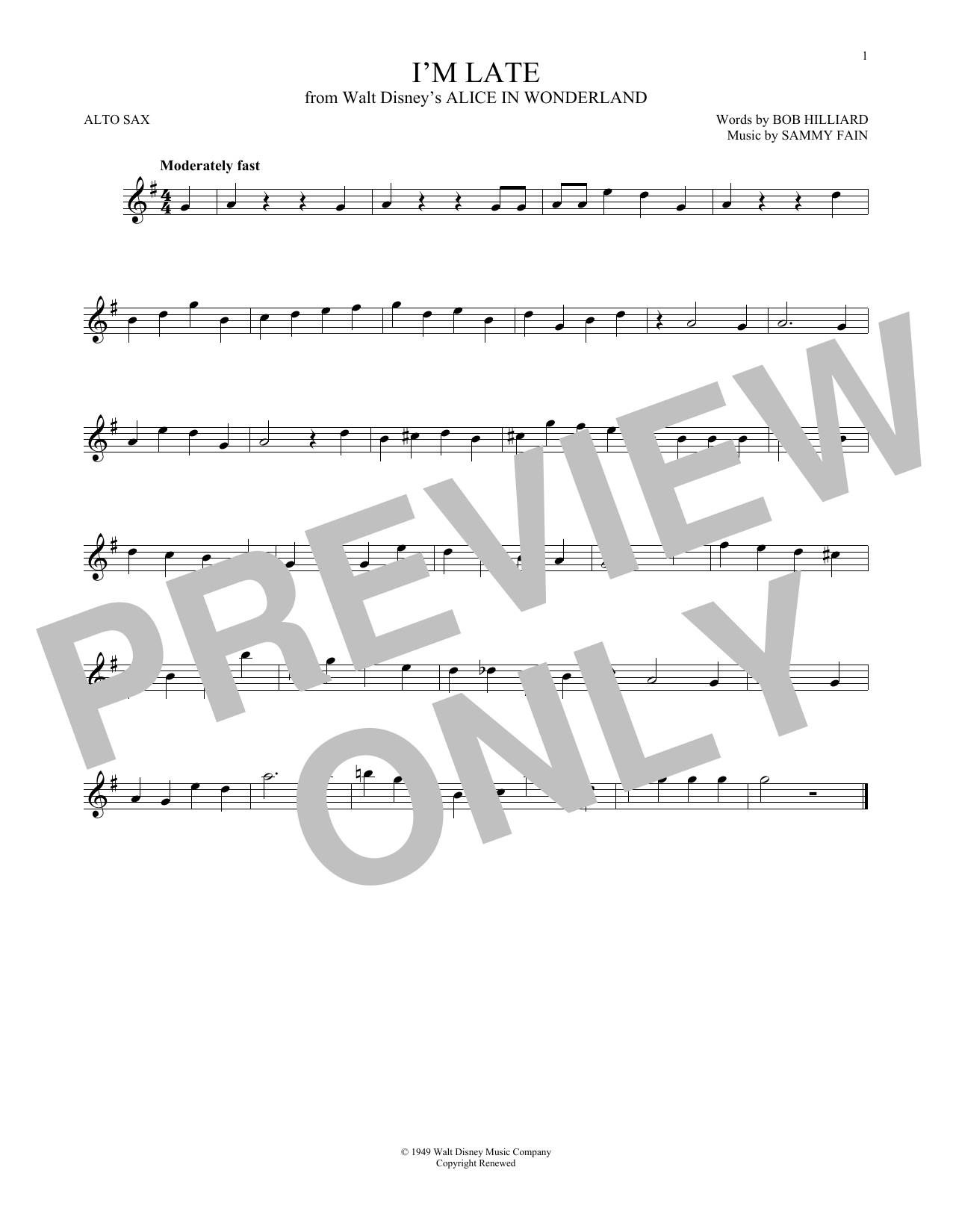 Partition saxophone I'm Late de Sammy Fain - Sax Alto