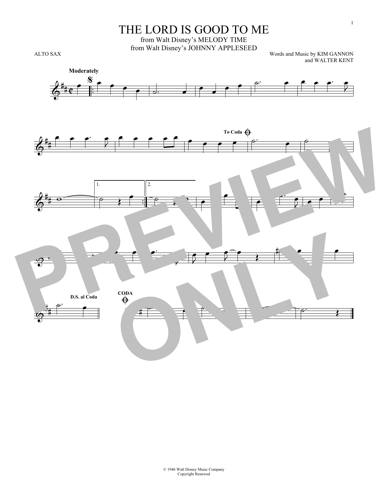 Partition saxophone The Lord Is Good To Me de Kim Gannon - Sax Alto