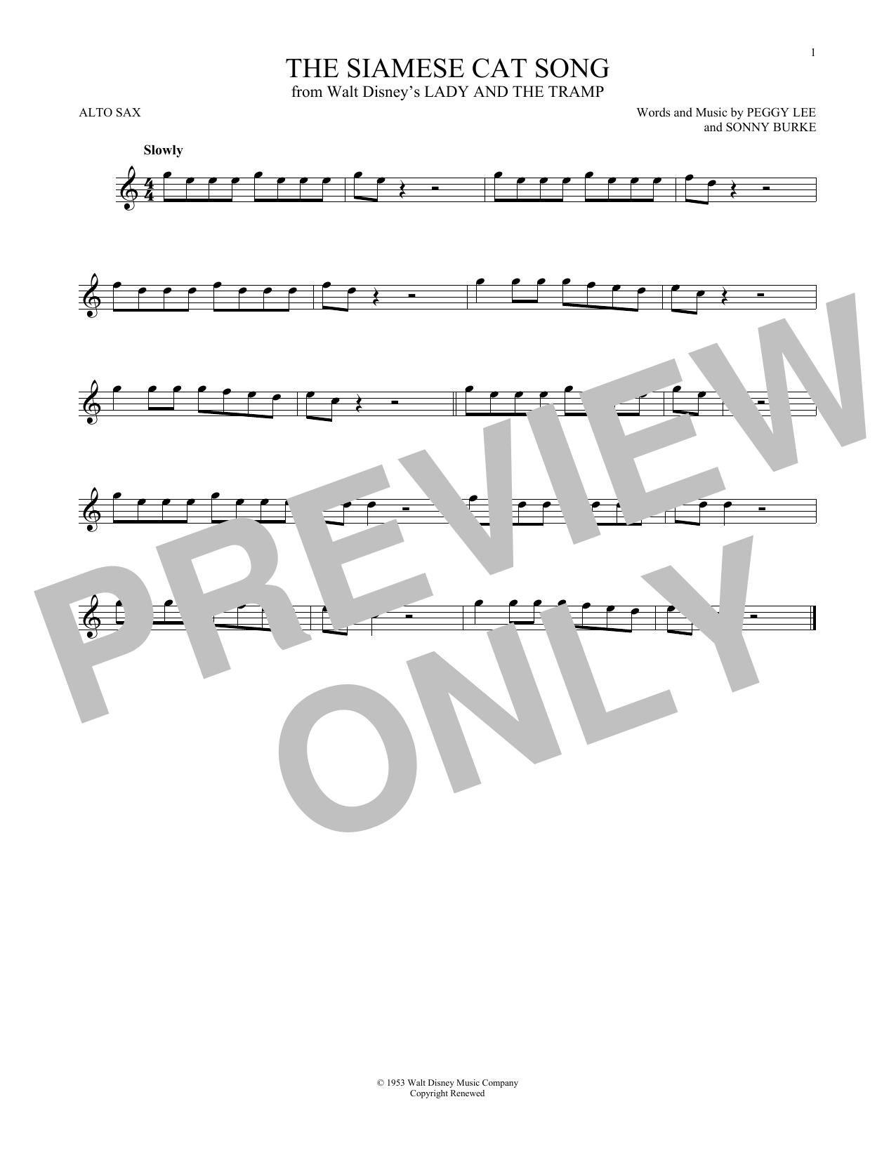 Partition saxophone The Siamese Cat Song de Peggy Lee - Sax Alto