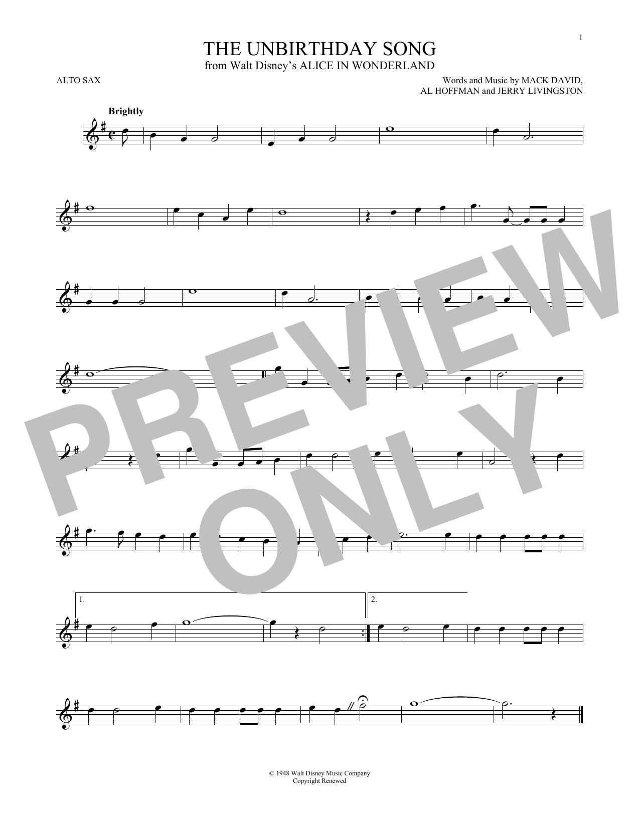 Partition saxophone The Unbirthday Song de Jerry Livingston - Sax Alto