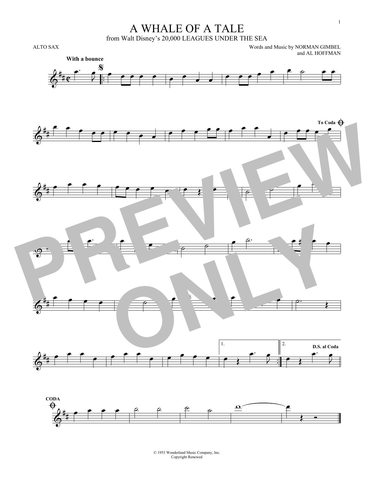 Partition saxophone A Whale Of A Tale de Norman Gimbel - Sax Alto