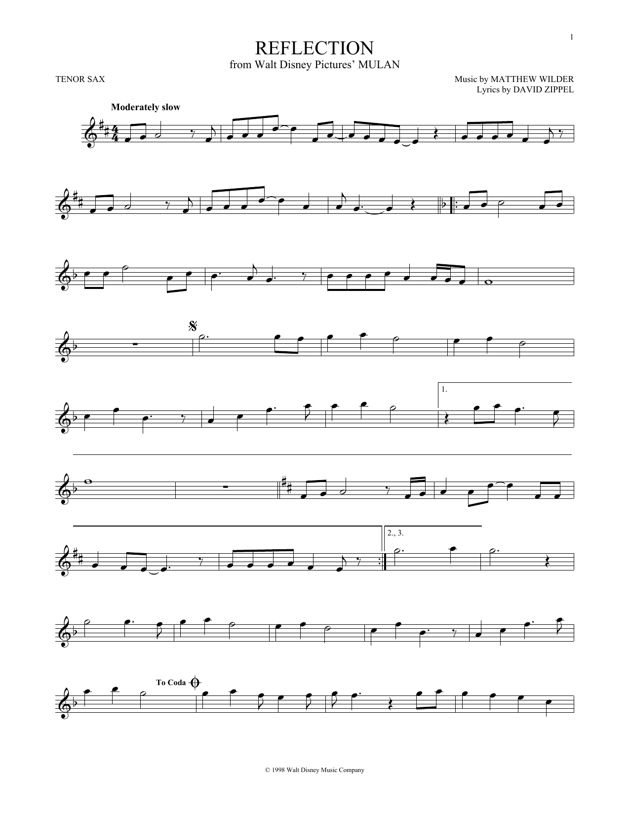 Partition saxophone Reflection de Christina Aguilera - Sax Tenor