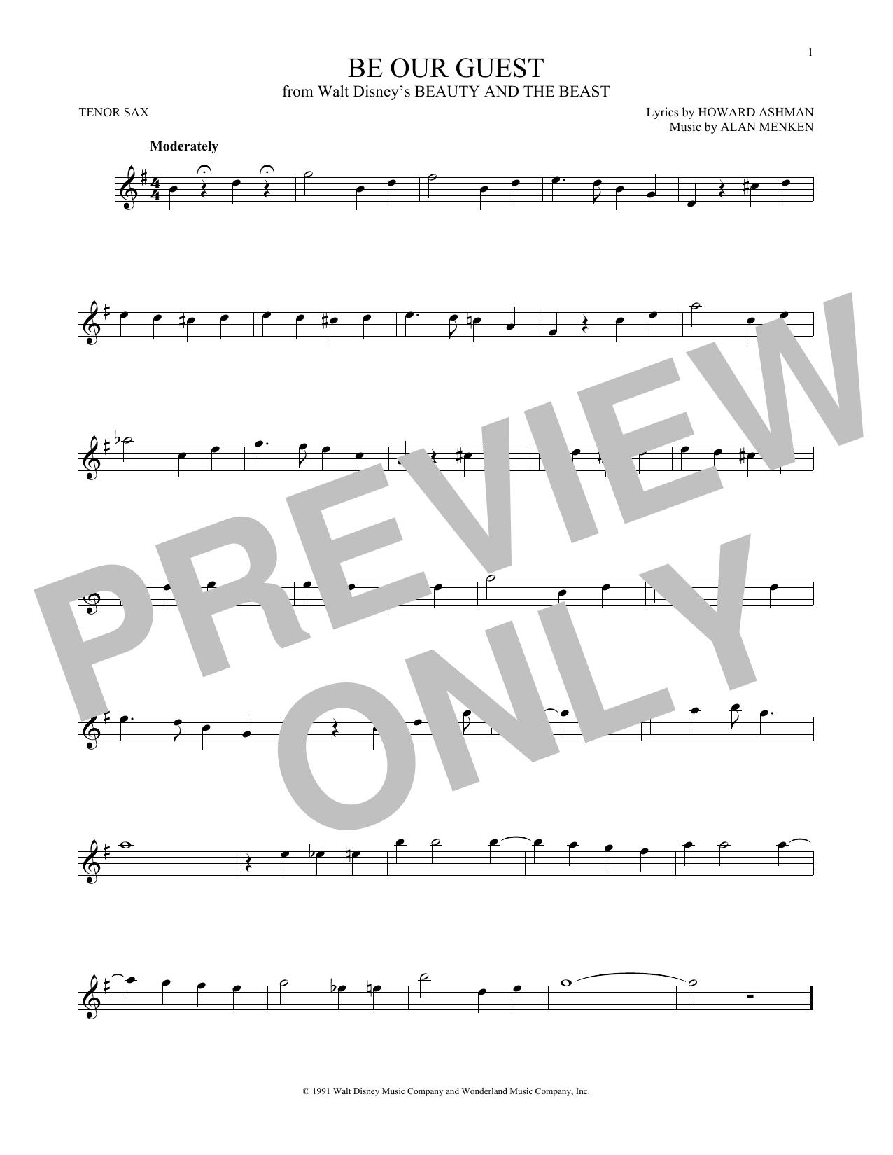 Partition saxophone Be Our Guest de Alan Menken - Sax Tenor