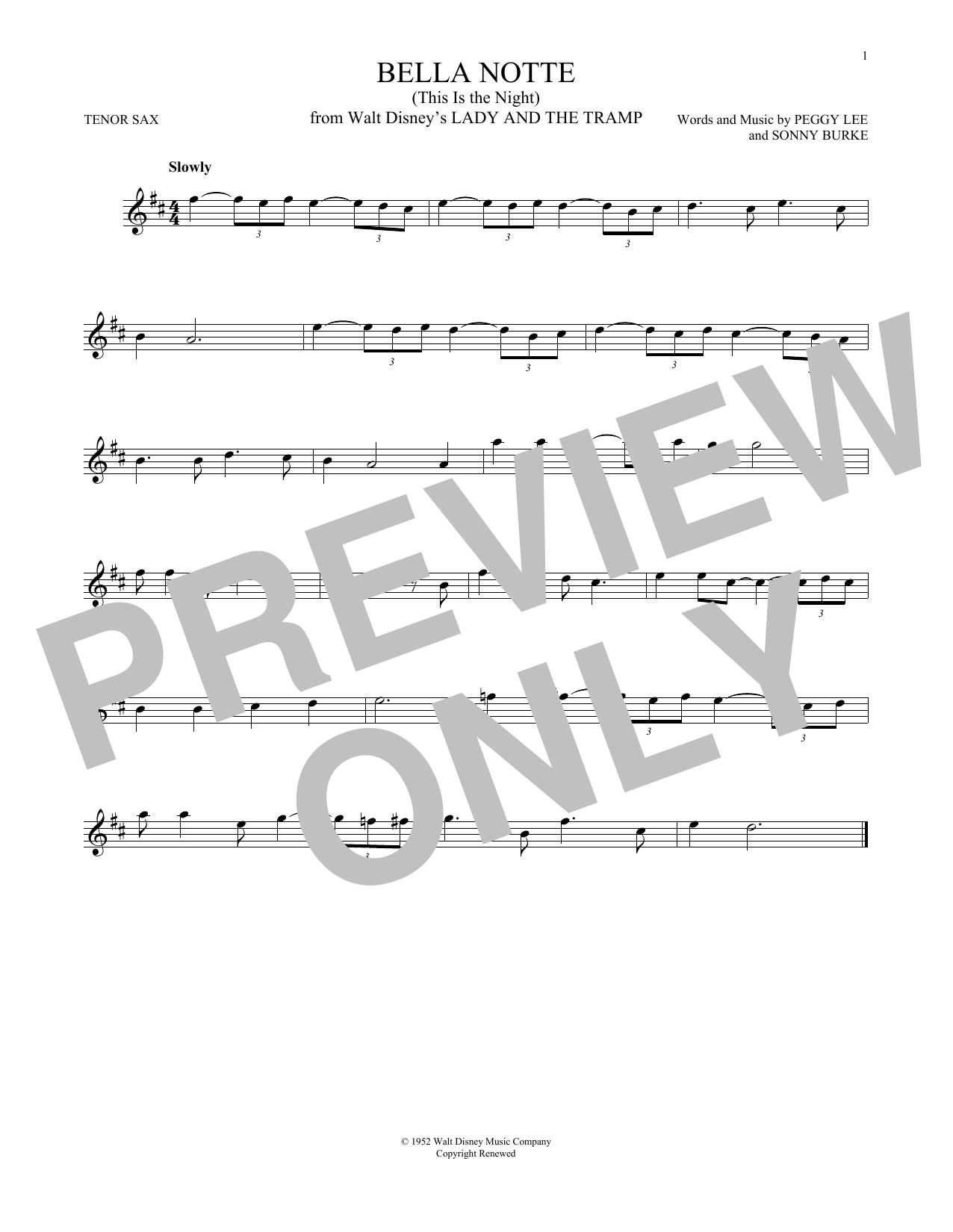 Partition saxophone Bella Notte de Peggy Lee & Sonny Burke - Sax Tenor
