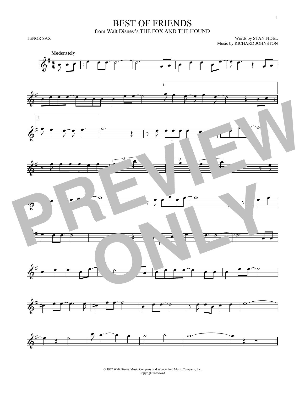 Partition saxophone Best Of Friends de Richard Johnston - Sax Tenor