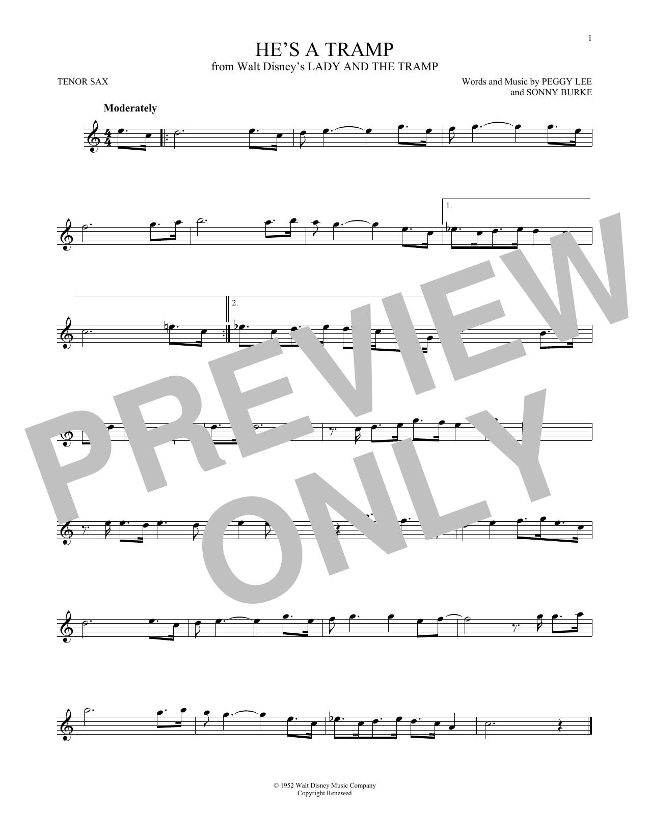 Partition saxophone He's A Tramp de Peggy Lee & Sonny Burke - Sax Tenor