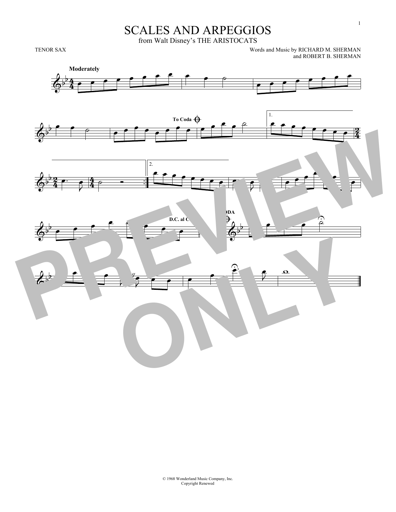 Partition saxophone Scales And Arpeggios de Richard & Robert Sherman - Sax Tenor