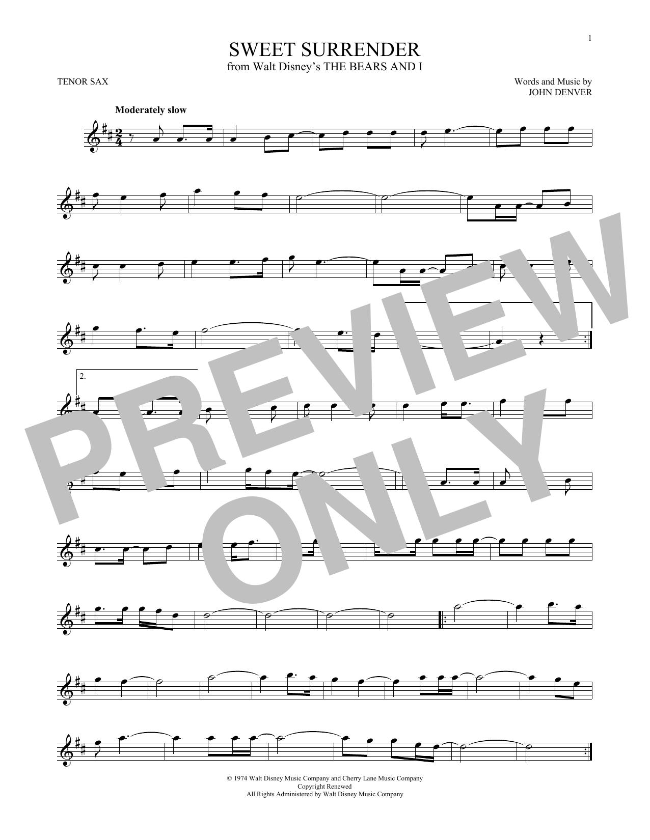 Partition saxophone Sweet Surrender de John Denver - Sax Tenor
