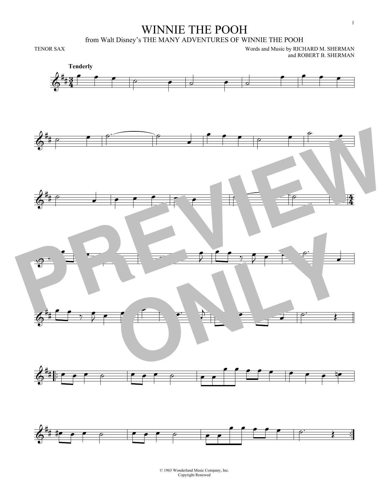 Partition saxophone Winnie The Pooh de Richard M. Sherman - Sax Tenor