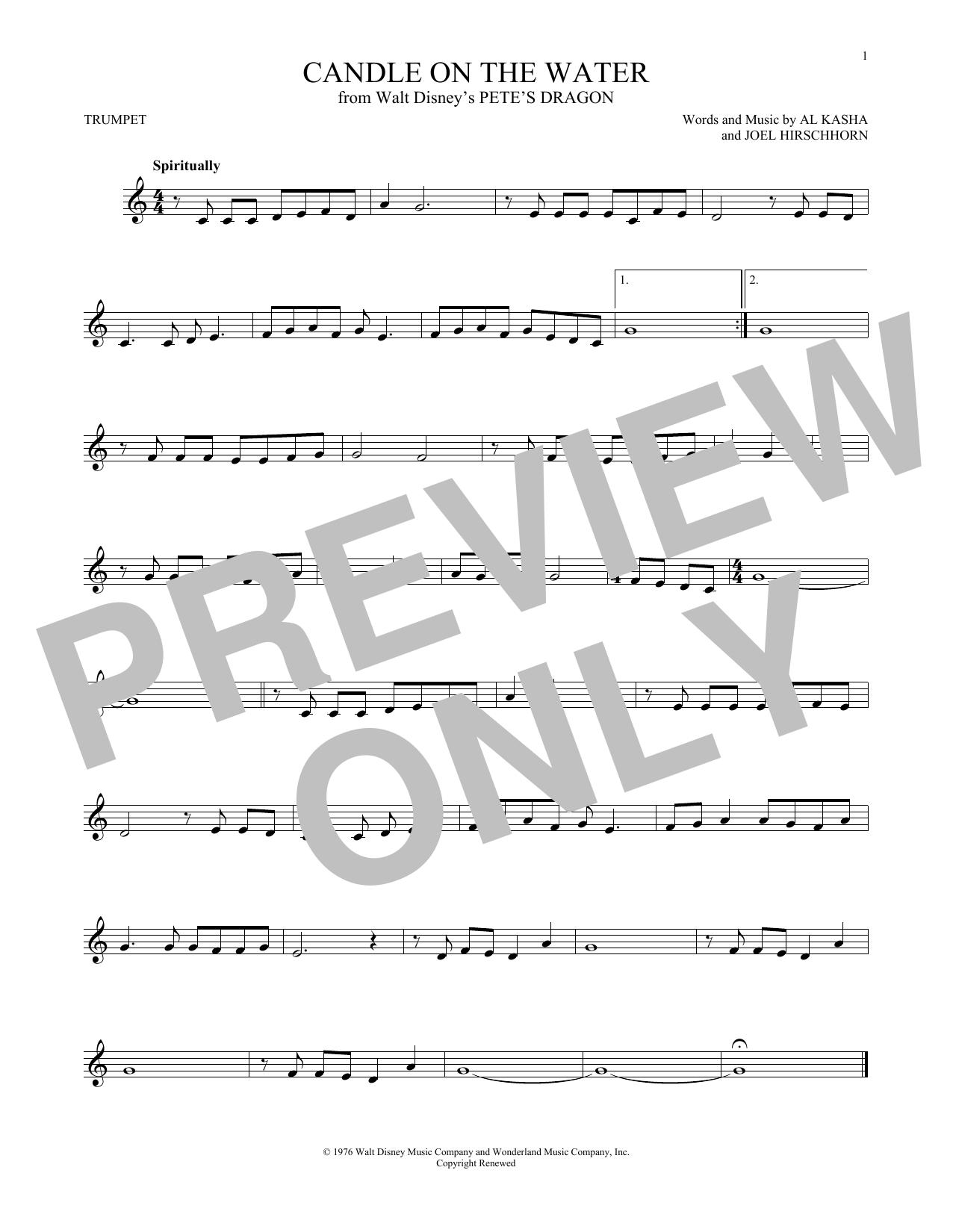 Partition autre Candle On The Water (from Walt Disney's Pete's Dragon) de Kasha & Hirschhorn - Trompette