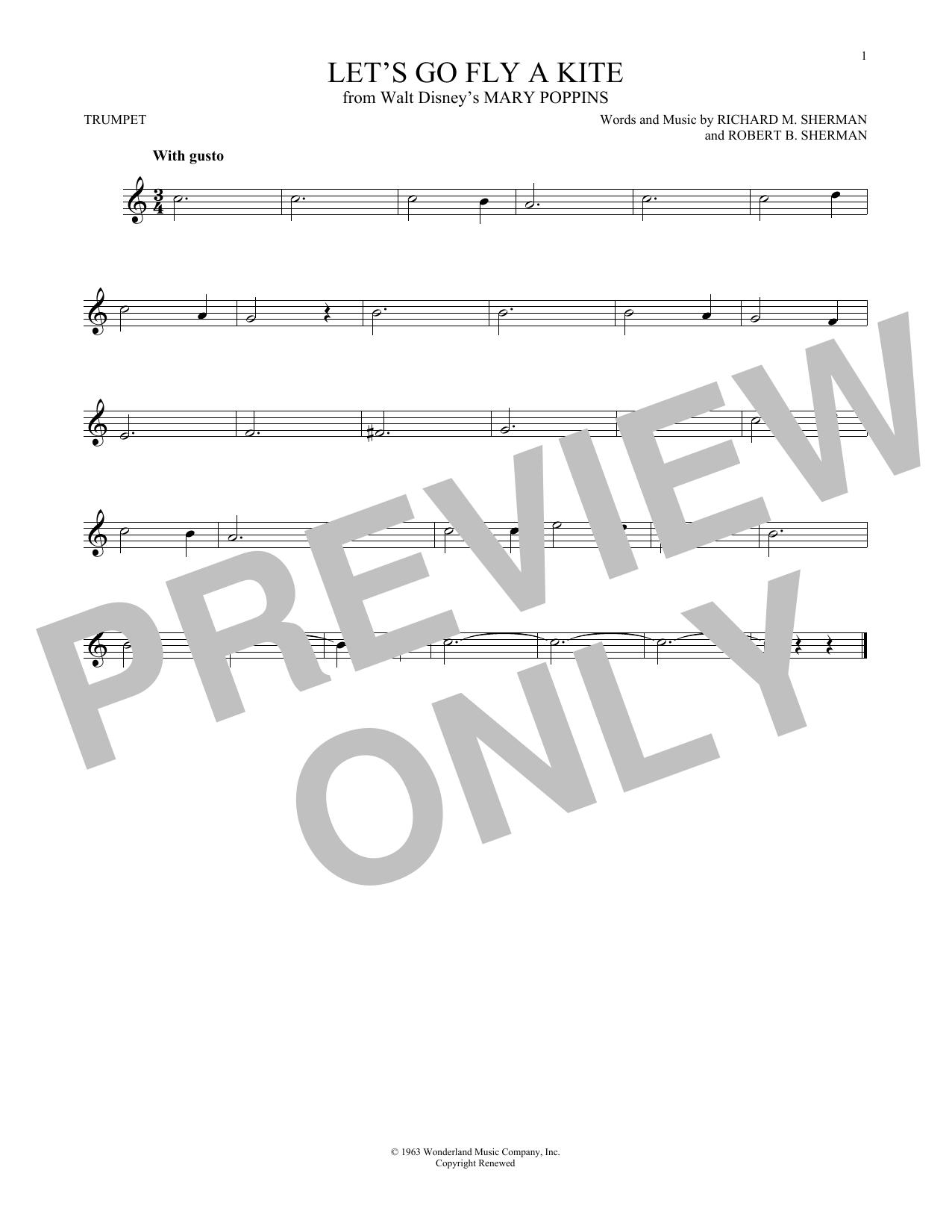 Partition autre Let's Go Fly A Kite de Richard & Robert Sherman - Trompette